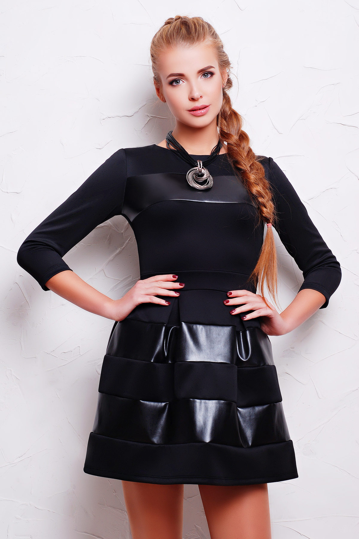 . платье Шакира д/р. Цвет: черный-кожа