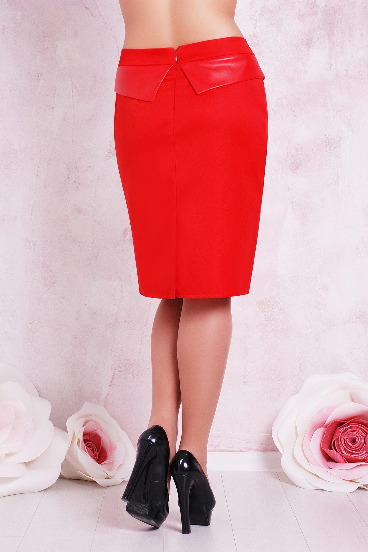 офисная темно-синяя юбка с баской. юбка мод. №12 Б. Цвет: красный