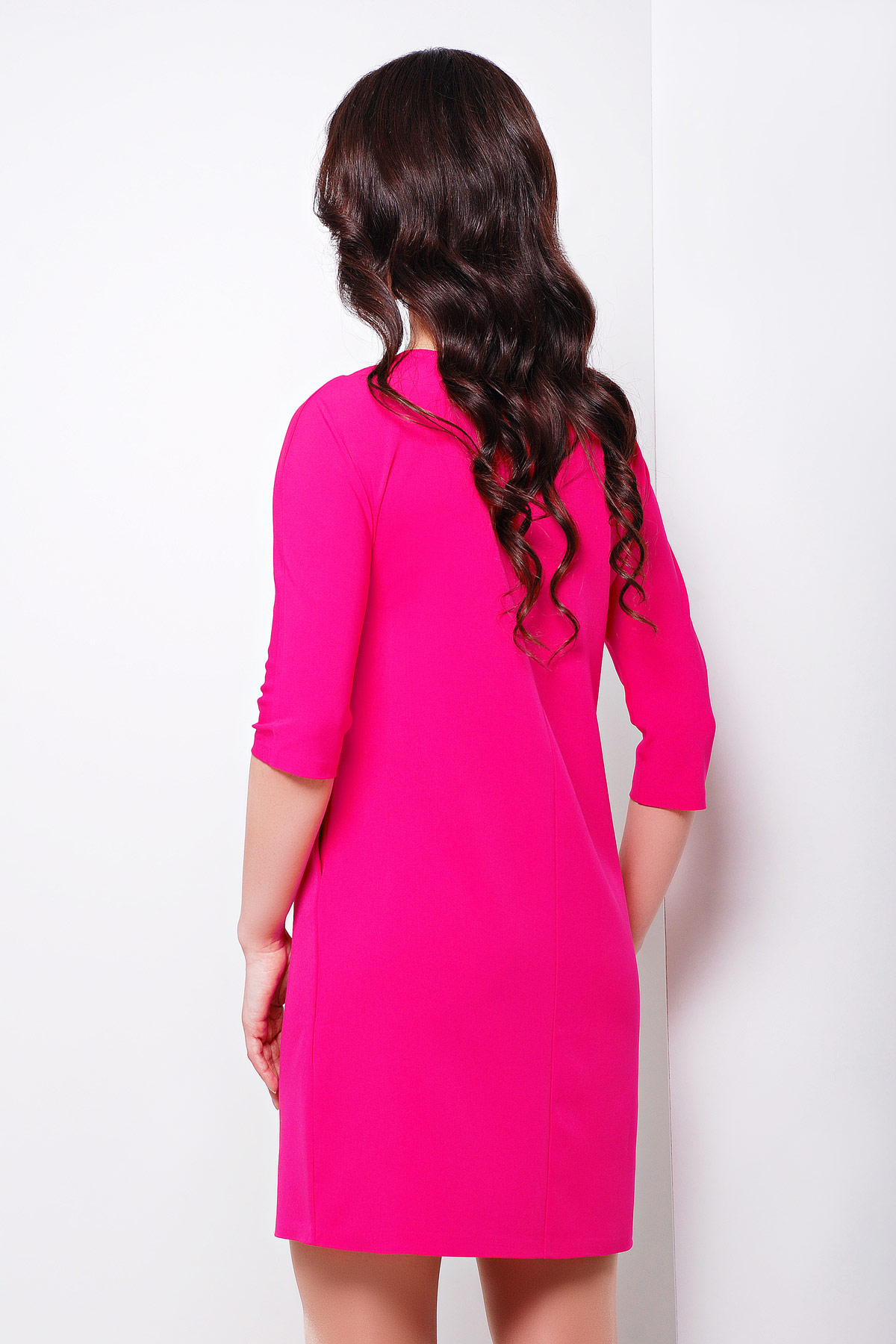 платье цвета фуксии с рукавом три четверти. платье Элика д/р. Цвет: фуксия