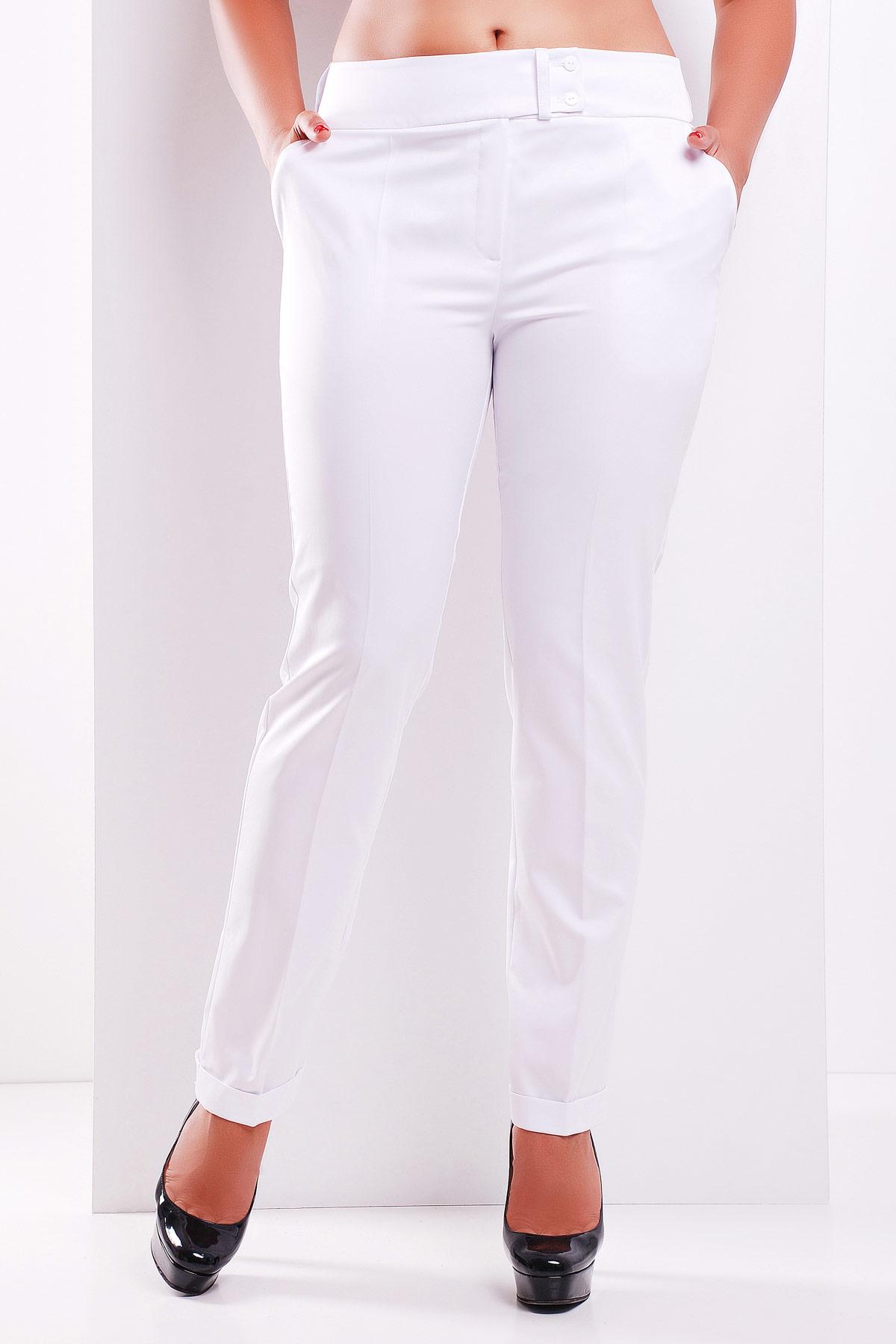 женские белые классические брюки большого размера. брюки Хилори-Б. Цвет: белый