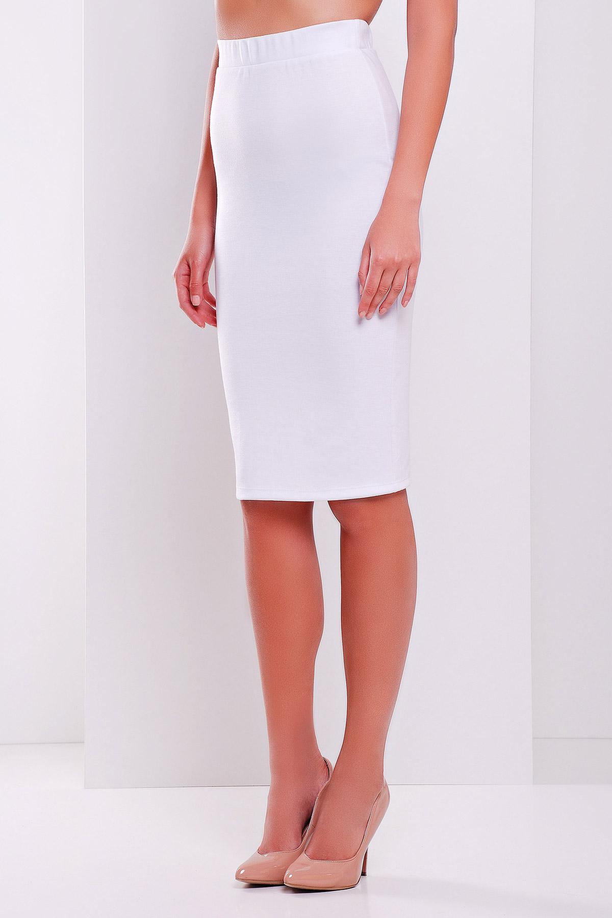 черная юбка-карандаш до колена. юбка мод. №20. Цвет: белый