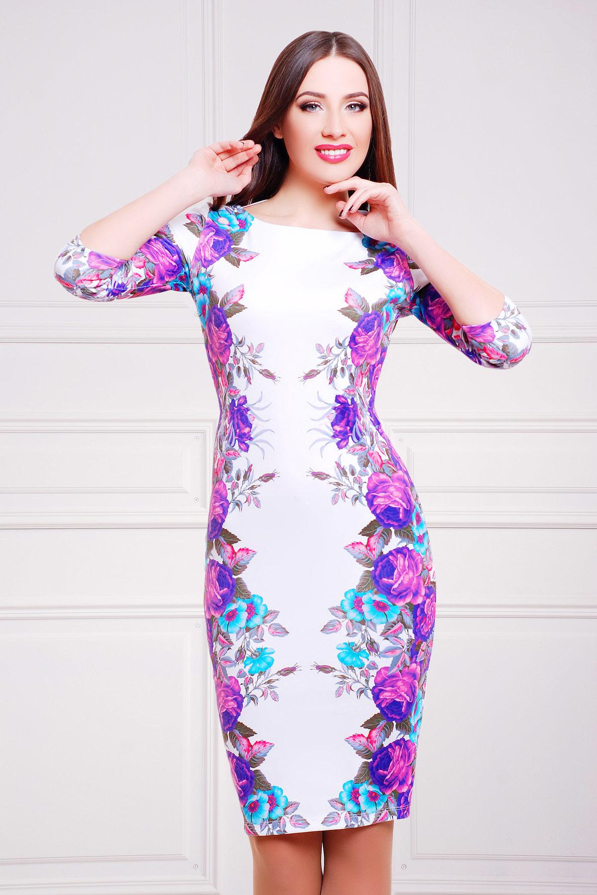 Фиолетовые розы платье Лоя-1Ф д/р