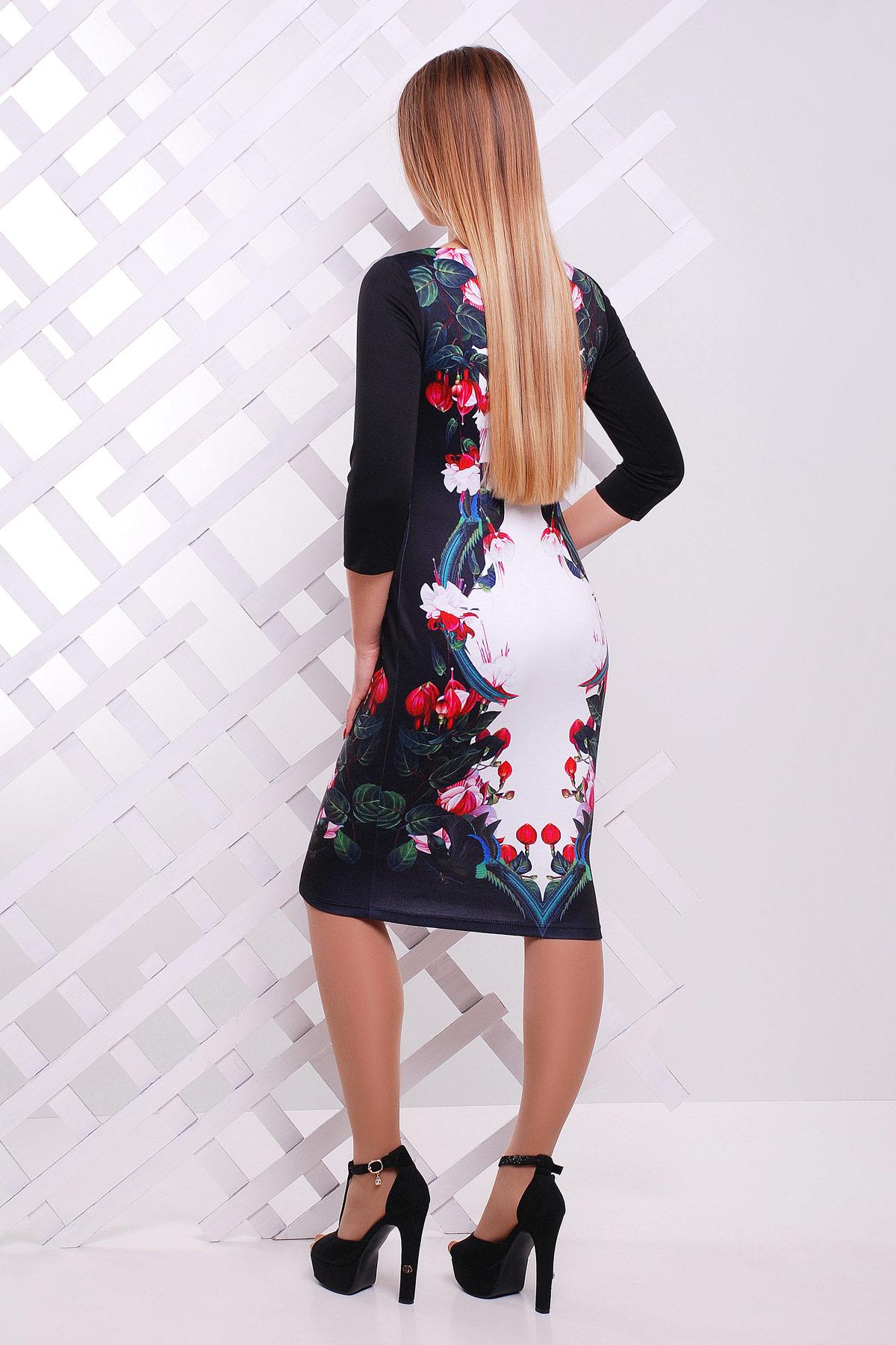 Цветы-птицы платье Лоя-3Ф д/р