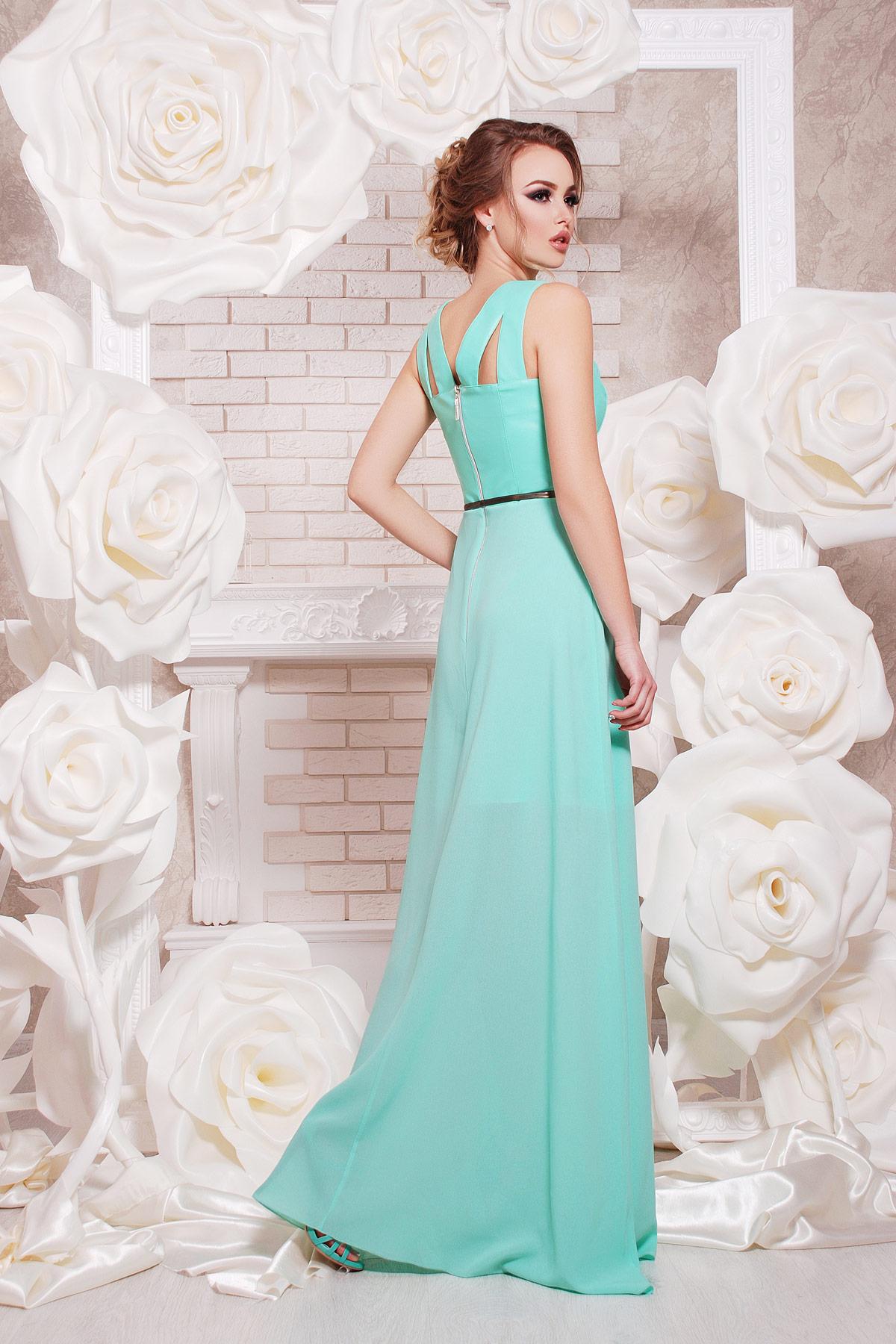Платье в пол с верхом из экокожи и свободной юбкой. платье Финикс б/р. Цвет: мята