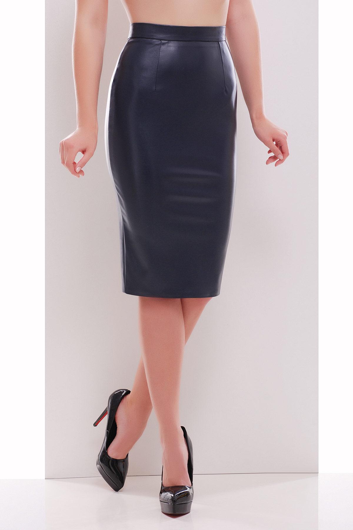 черная юбка карандаш из экокожи. юбка мод. №29 (кожа). Цвет: темно синий