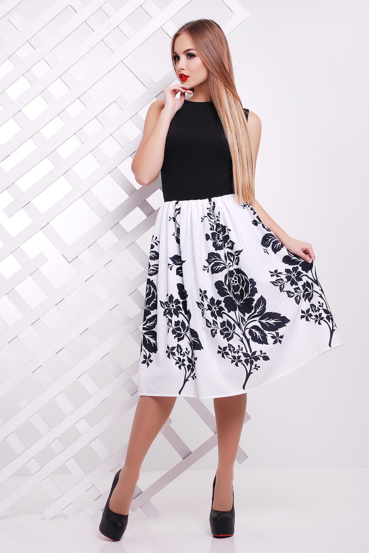 Черные цветы платье Мирана б/р