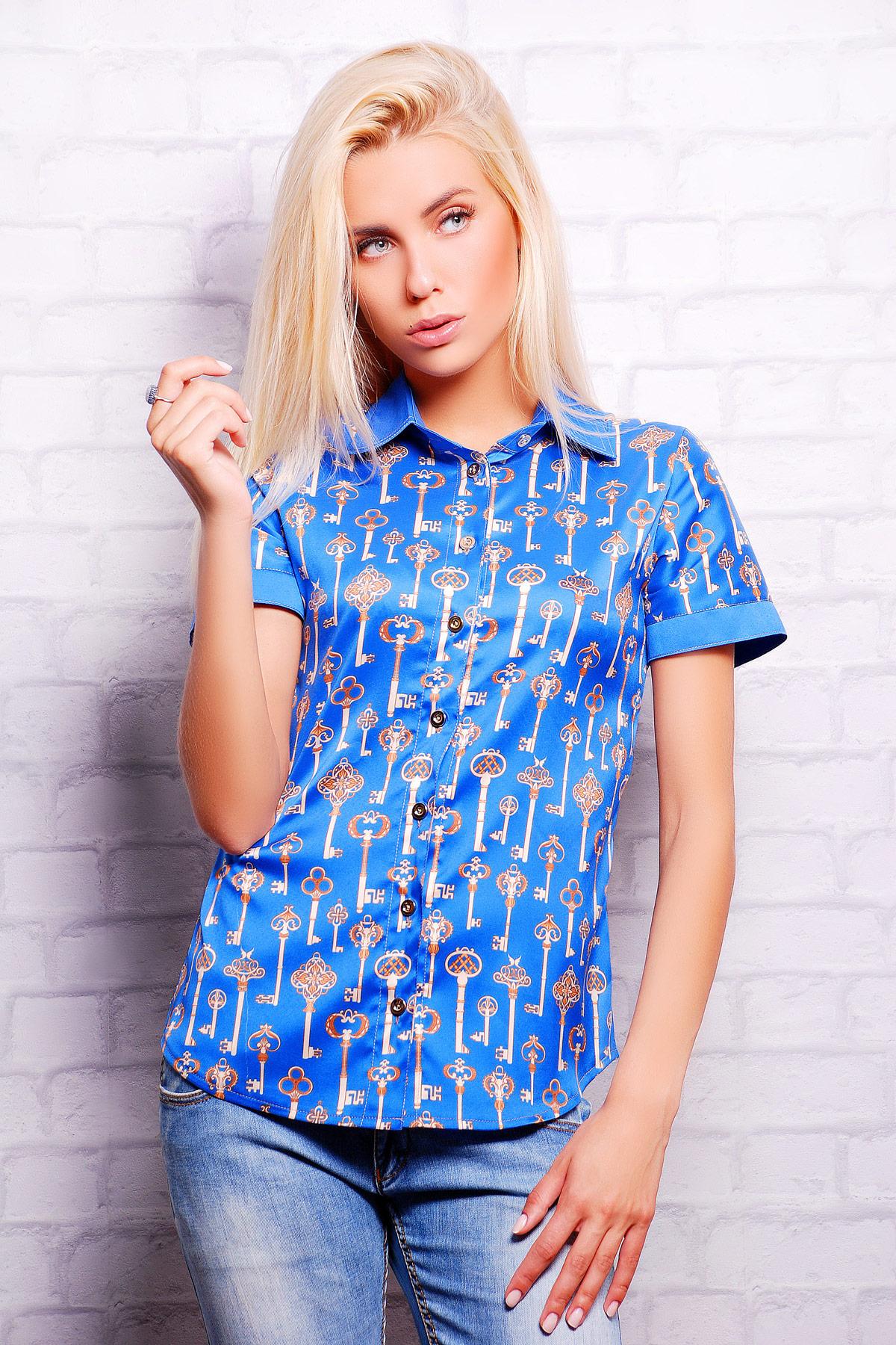 Синий-ключики блуза Деним к/р