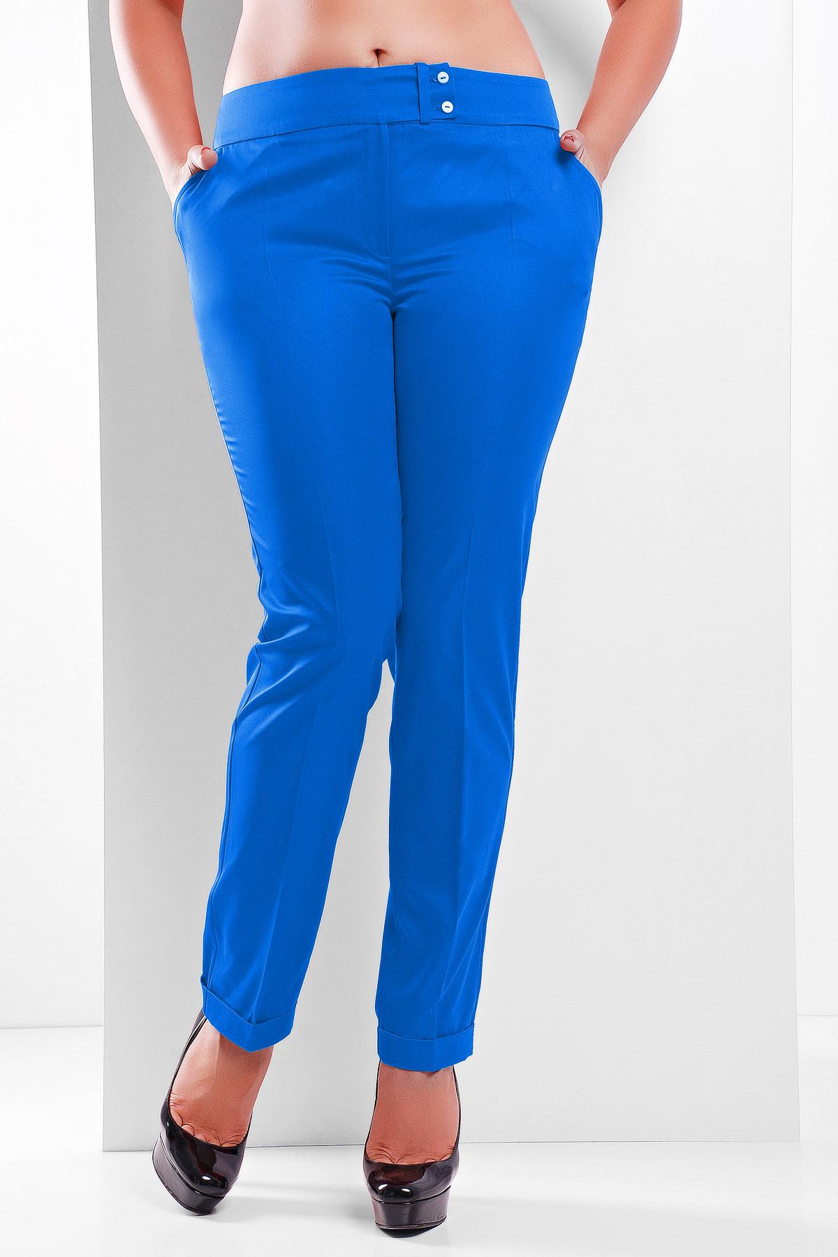 женские светлые брюки больших размеров. брюки Хилори-Б. Цвет: электрик