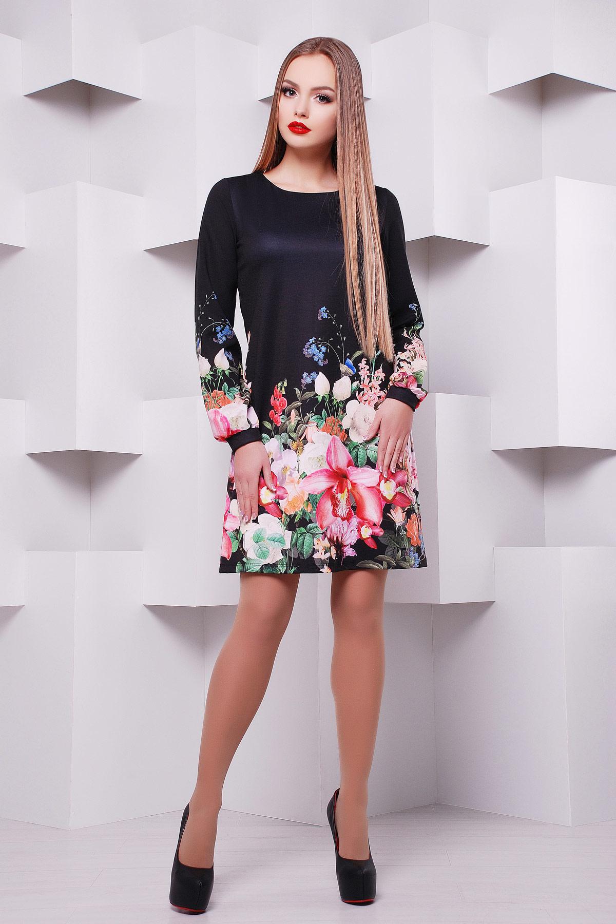 Черный букет платье Тана-1Ф (креп) д/р