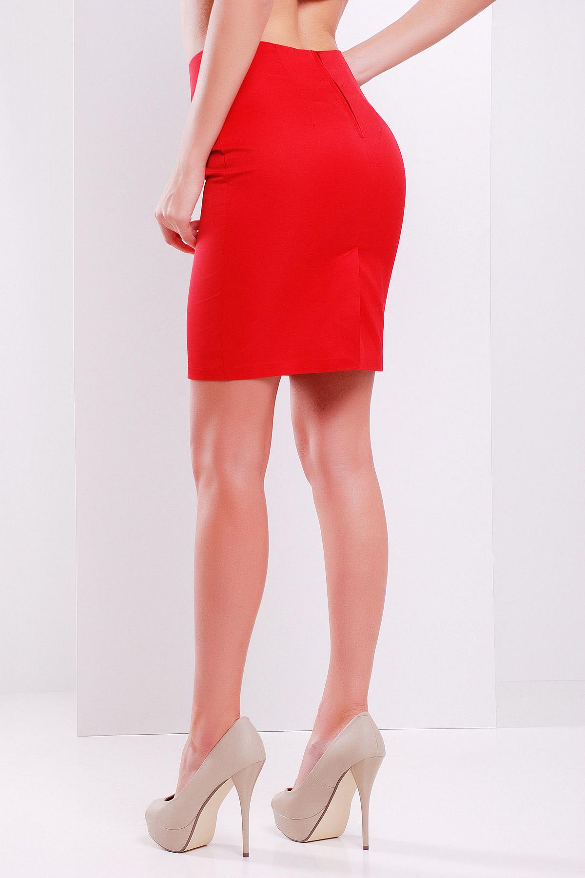 прямая темно-синяя юбка. юбка мод. №1. Цвет: красный