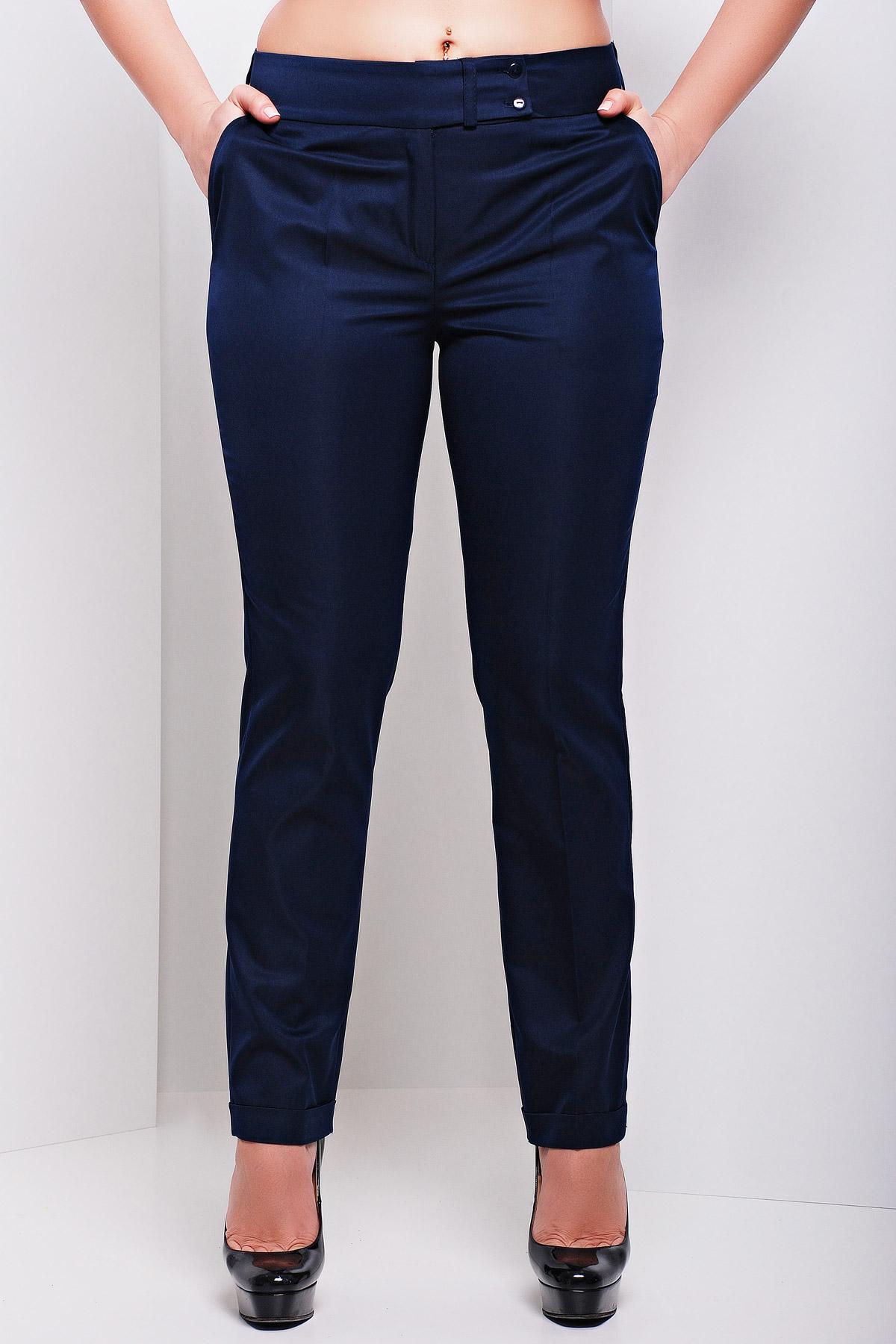 женские светлые брюки больших размеров. брюки Хилори-Б. Цвет: темно синий