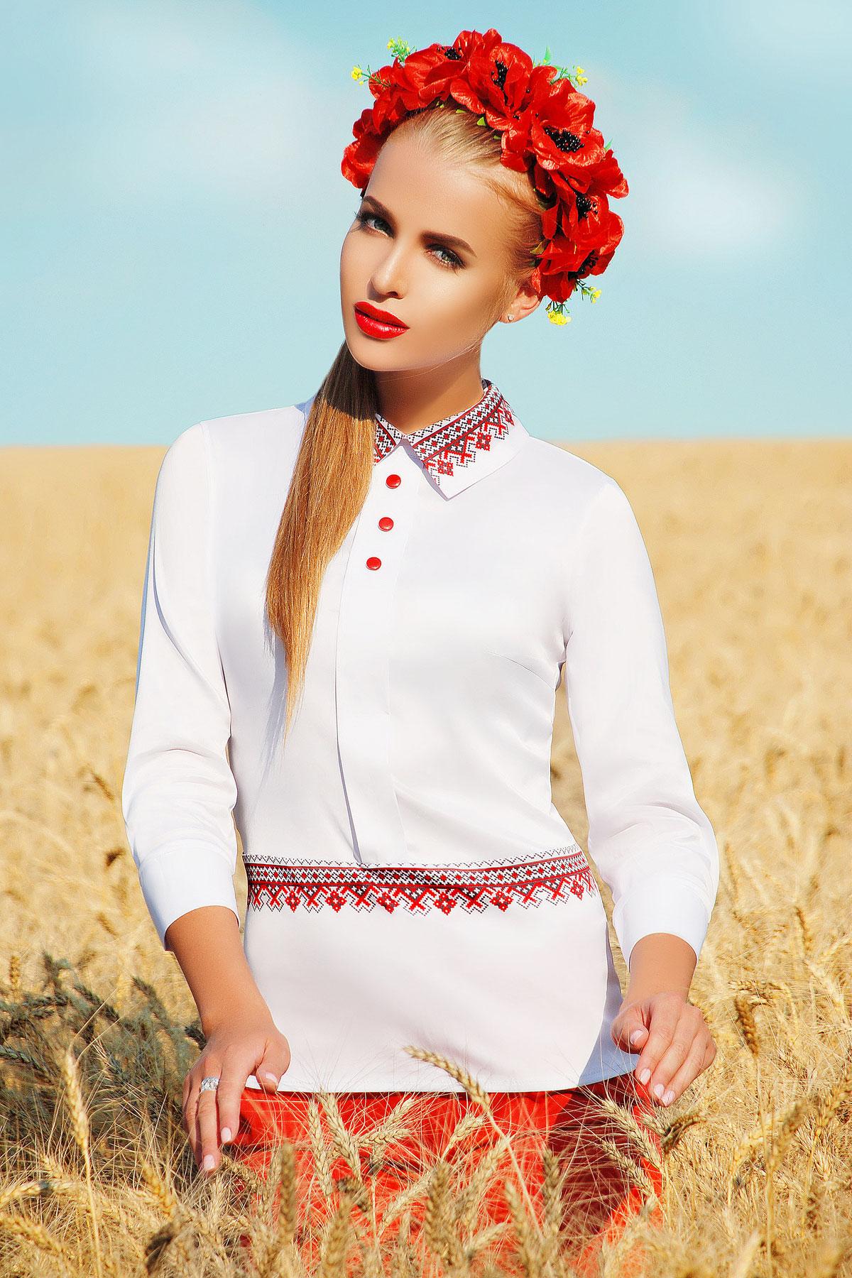 Узор красный блуза Василиса д/р