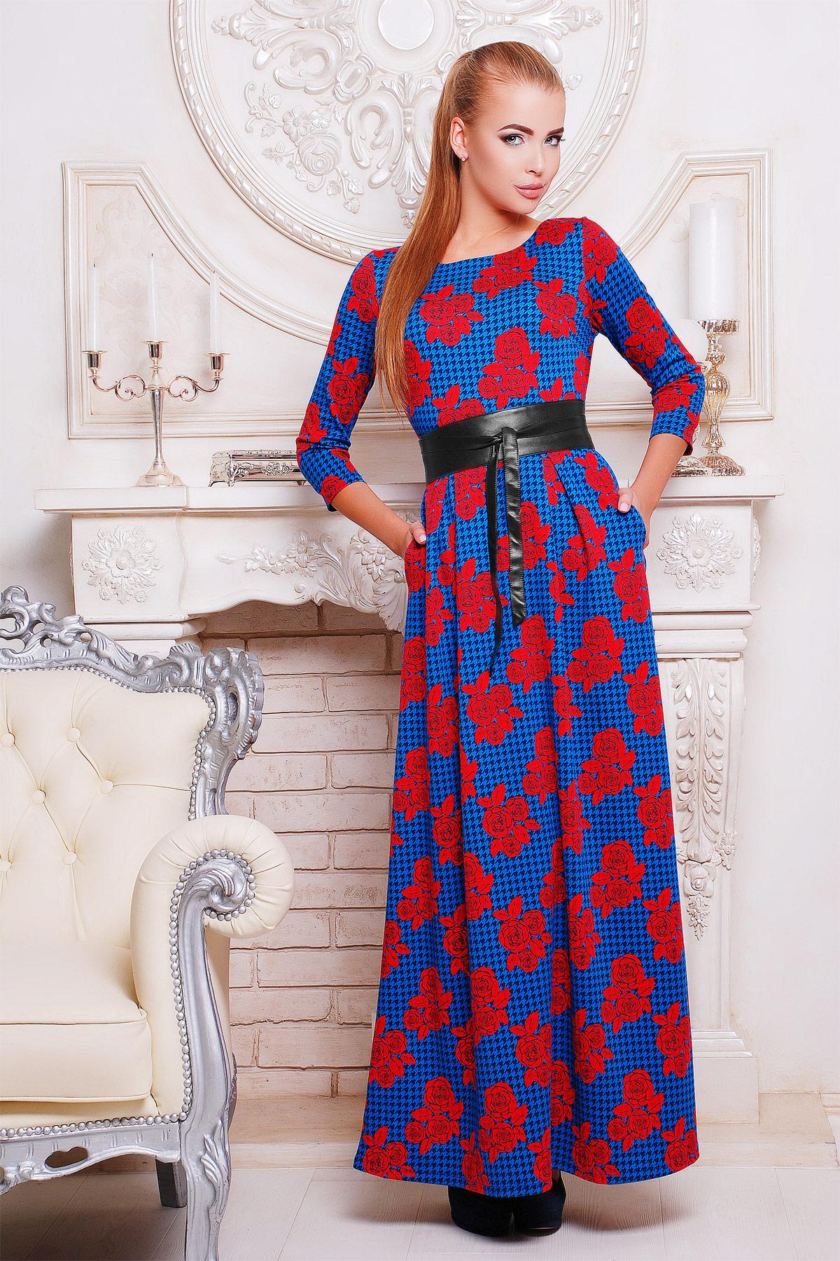 Серое платье макси, украшенное лапкой и розами. платье Шарли д/р. Цвет: электрик-лапка-роза