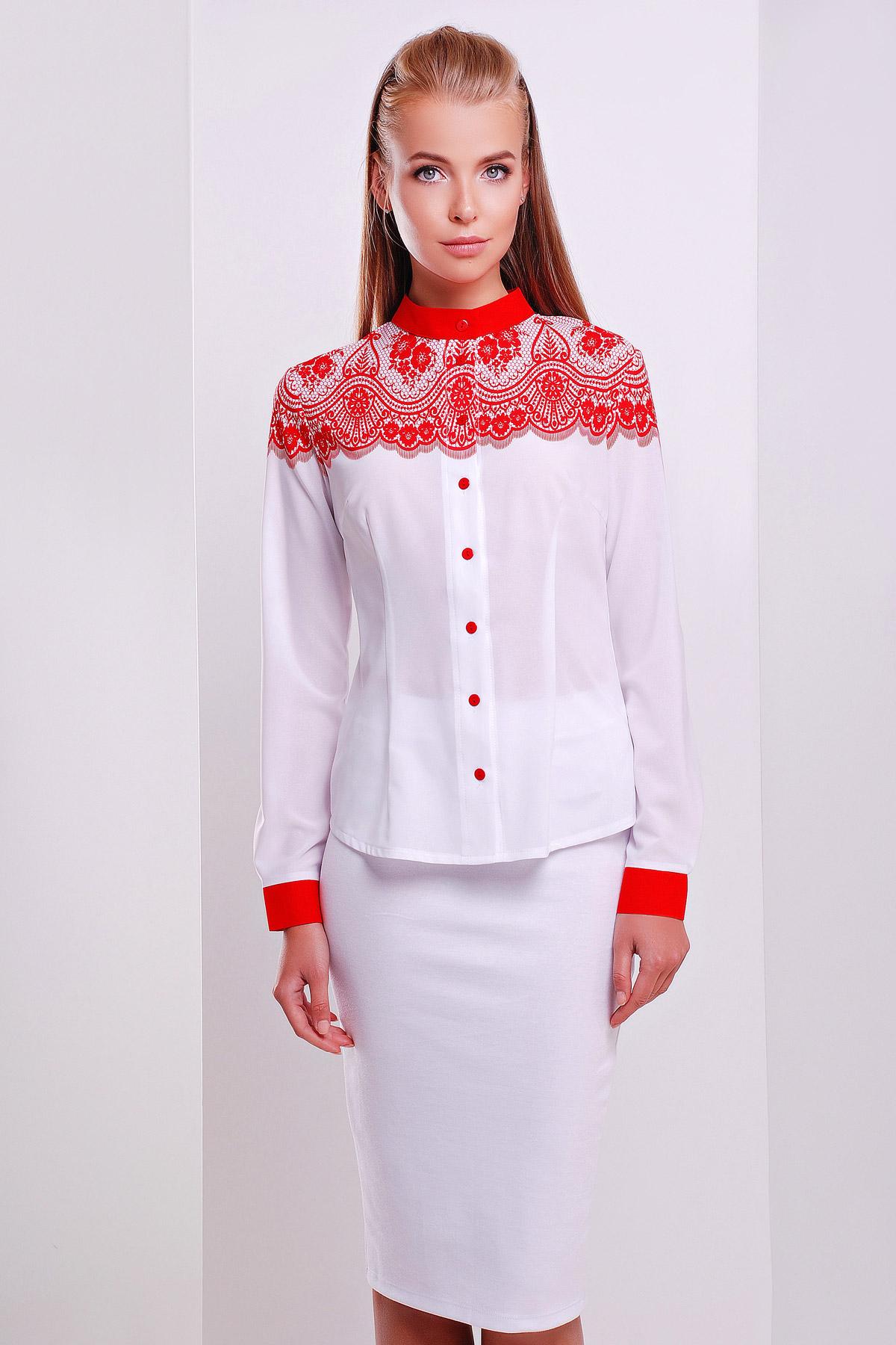 Кружево красное блуза Есения д/р. Цвет: принт
