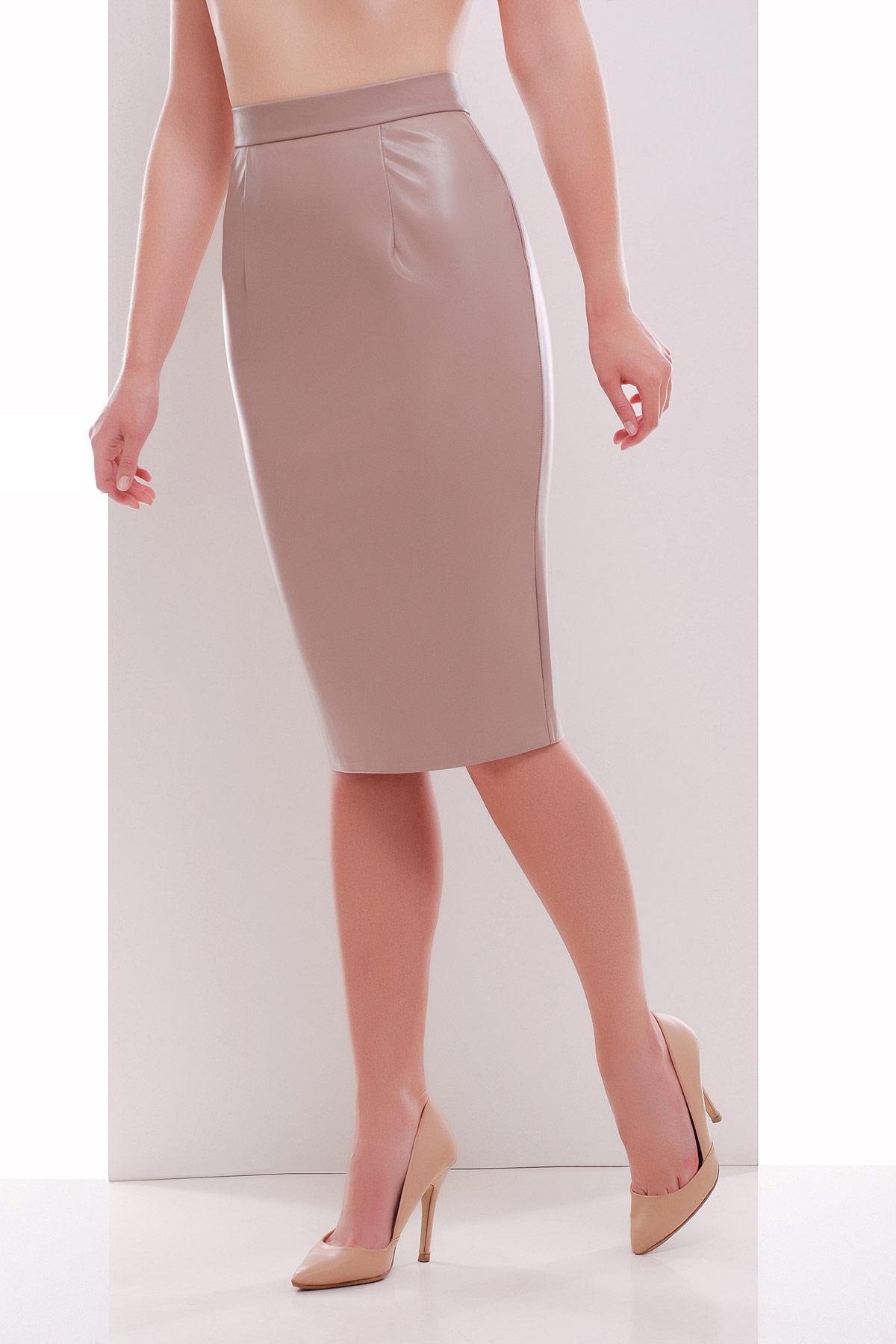 черная юбка карандаш из экокожи. юбка мод. №29 (кожа). Цвет: бежевый