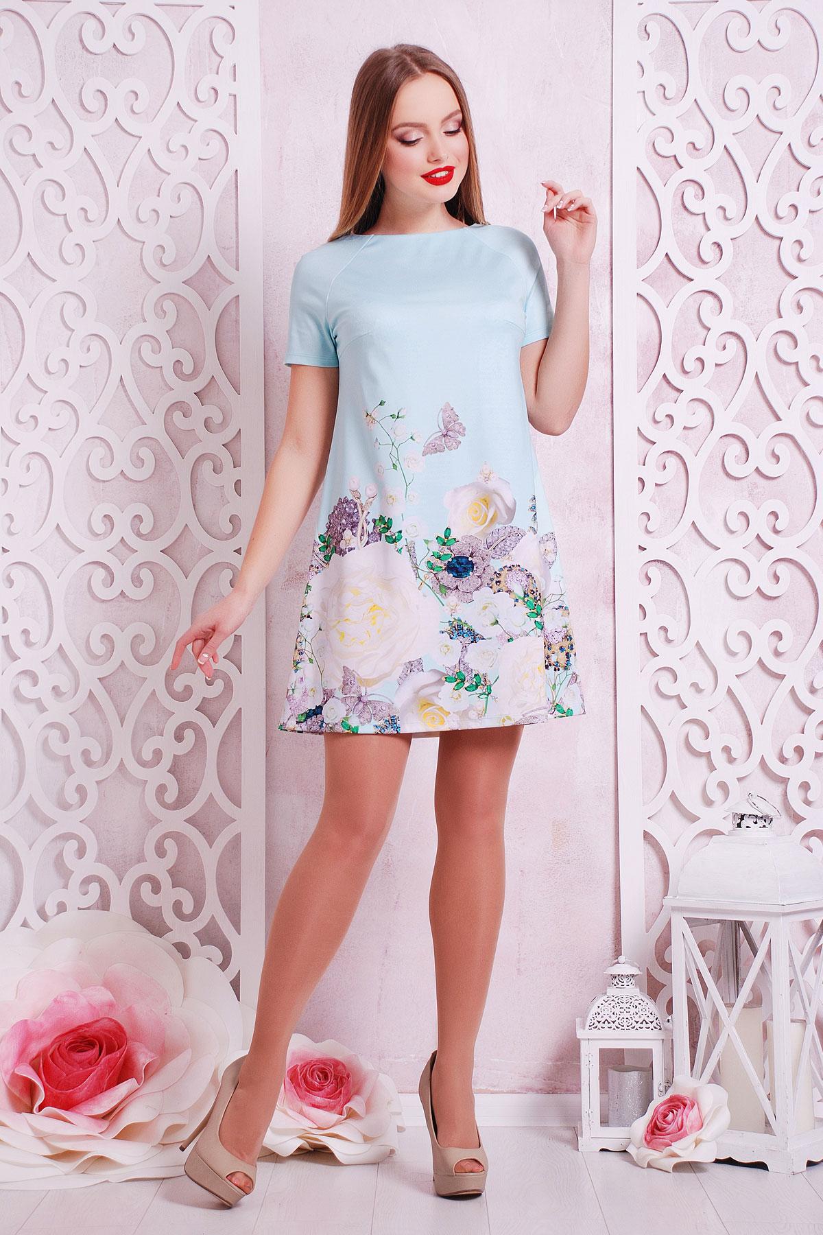 Розы-жемчуг платье Рея-1 к/р