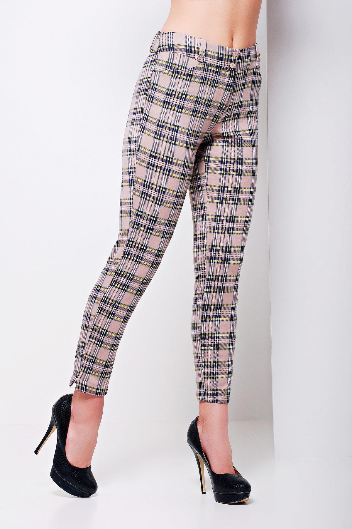 серые брюки по щиколотку. брюки Эдема. Цвет: бежевая клетка