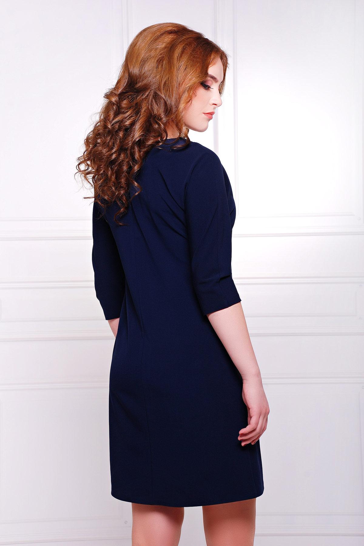 платье цвета фуксии с рукавом три четверти. платье Элика д/р. Цвет: темно синий