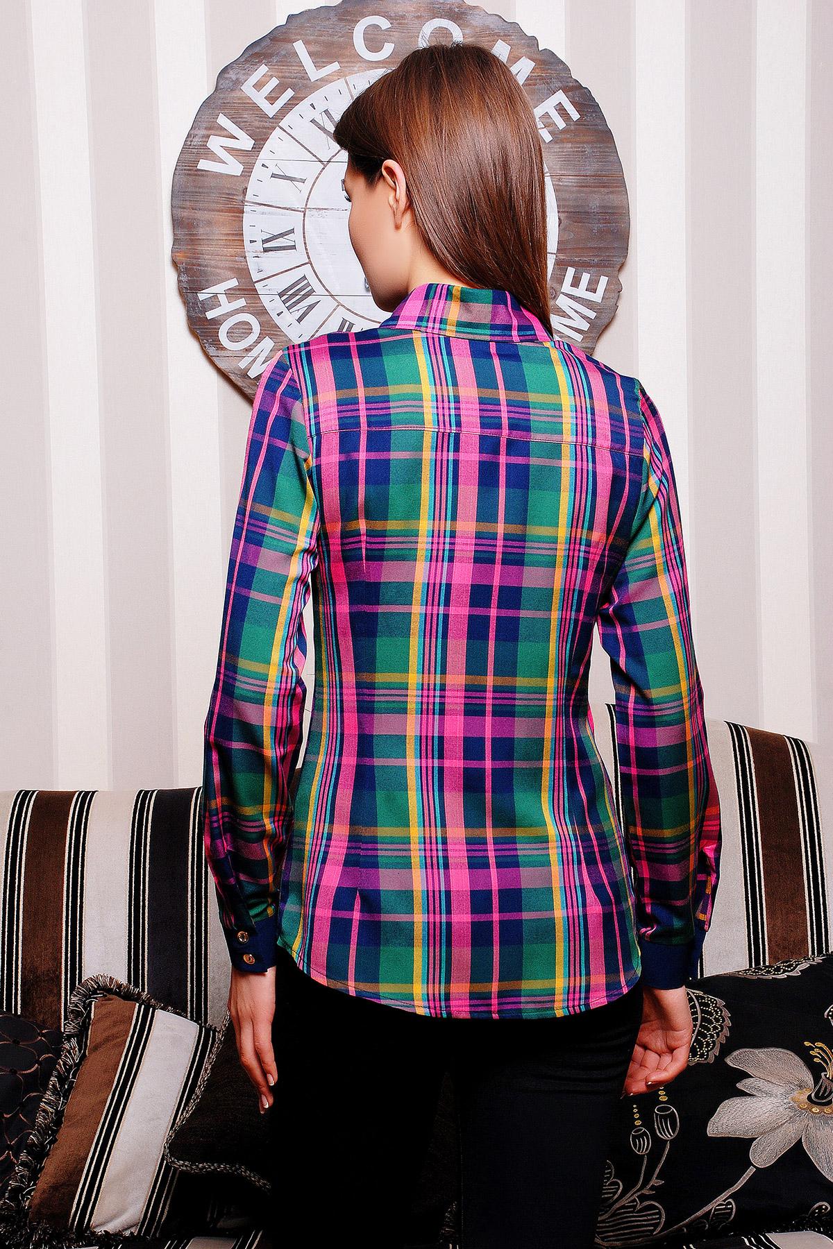 . блуза Шотландка д/р. Цвет: зеленый-т.синяя отделка