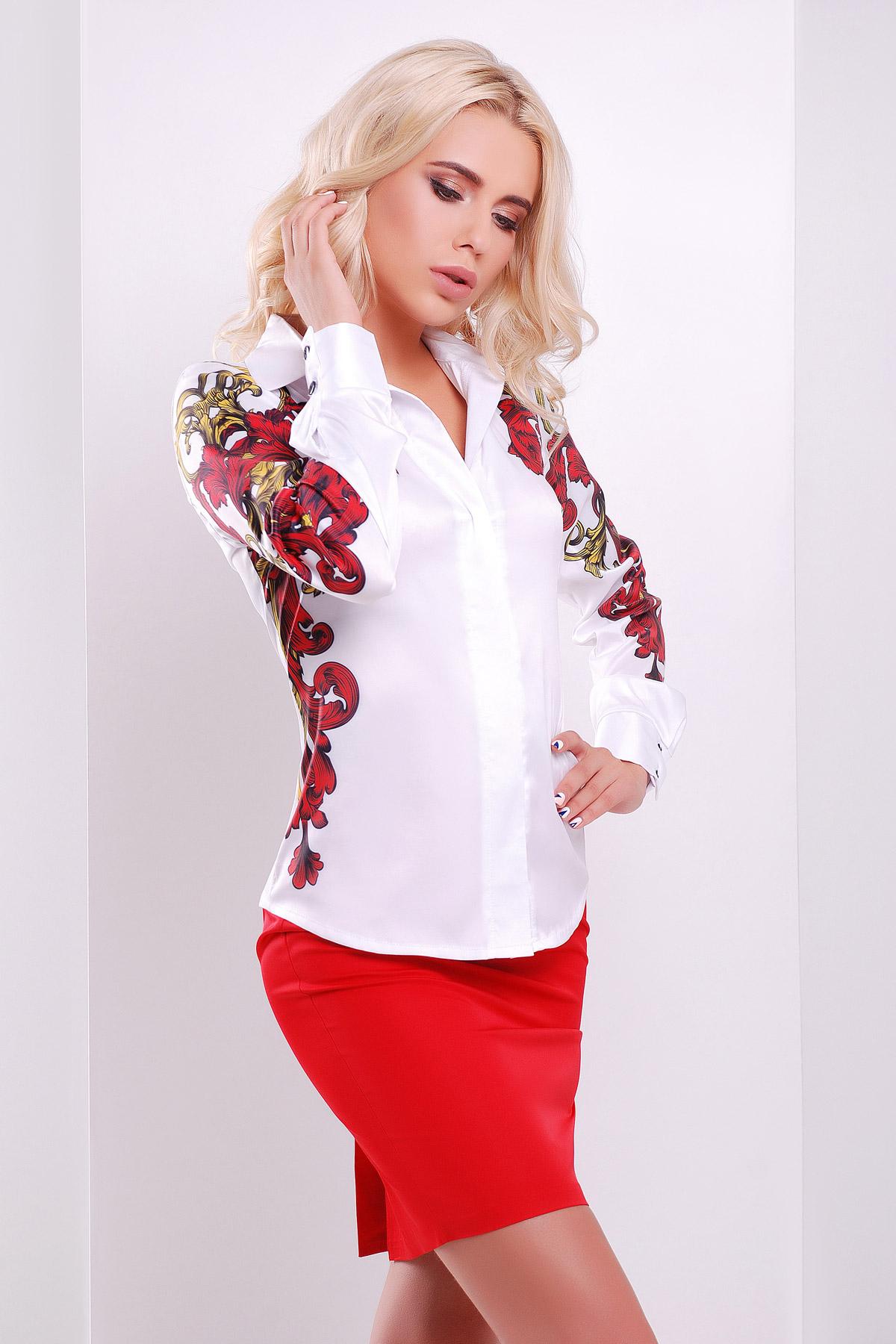 Узор красно-желтый блуза Ларси-3 д/р