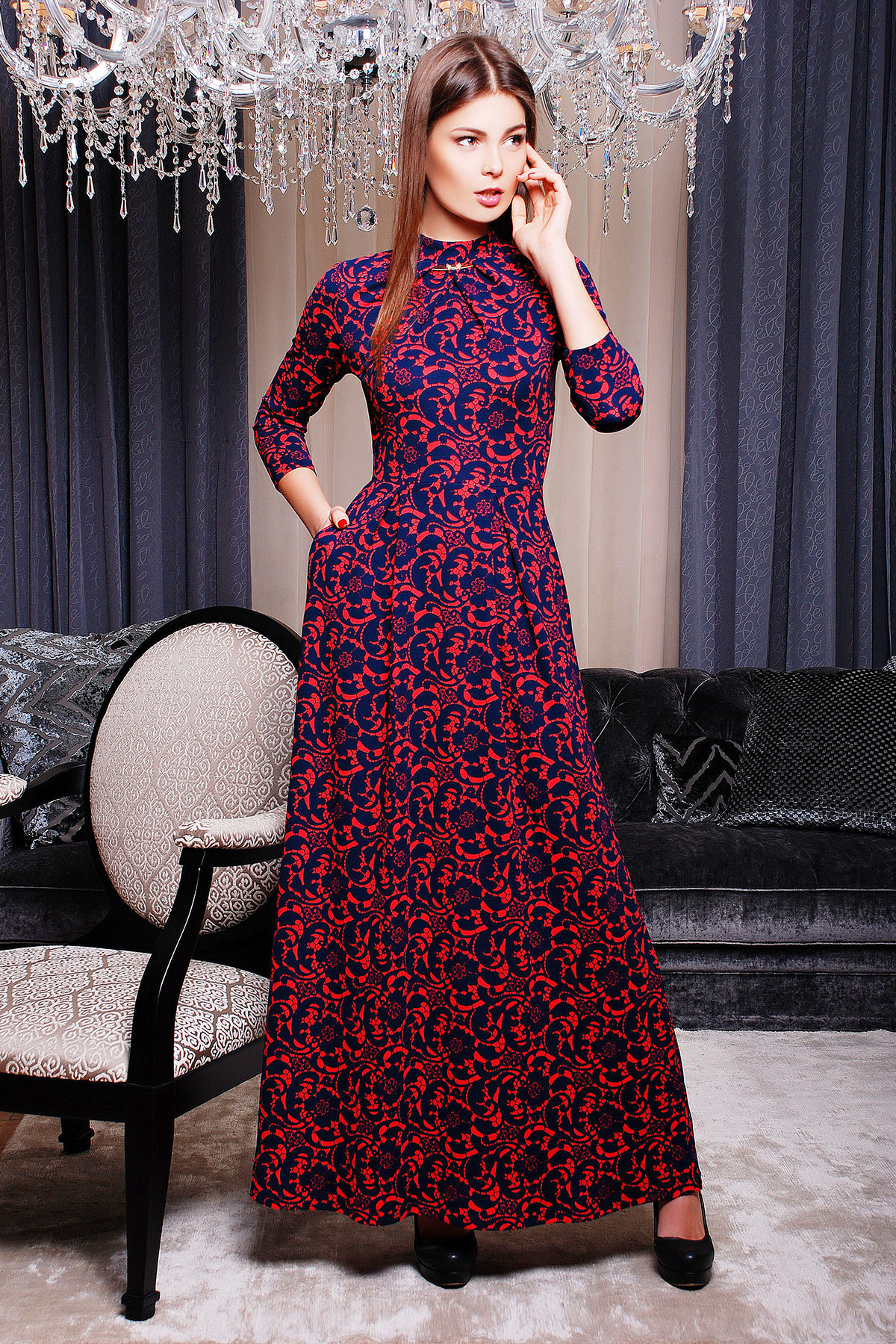 . платье Шарлота д/р. Цвет: коралл-т.синий узор