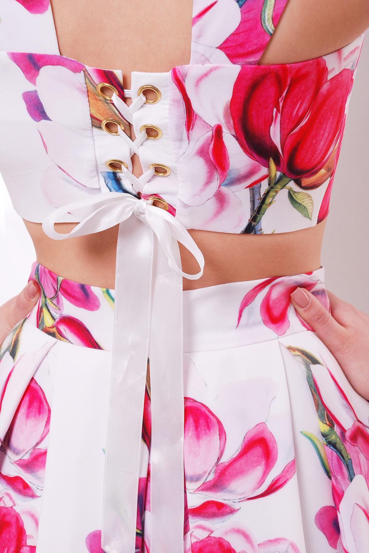 летний костюм юбка и топ. Магнолия юбка-топ №28. Цвет: белый
