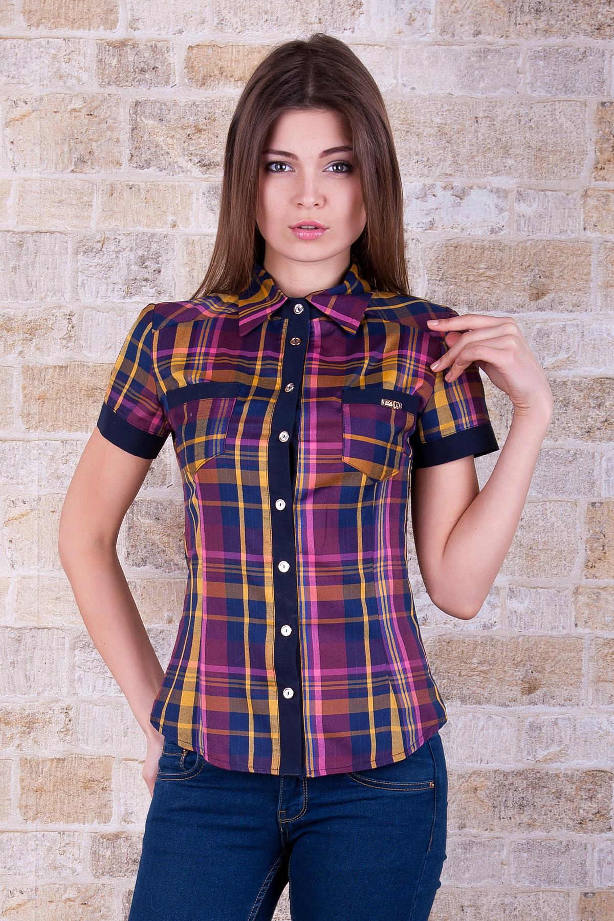 . блуза Шотландка к/р. Цвет: горчичный-т.синяя отд