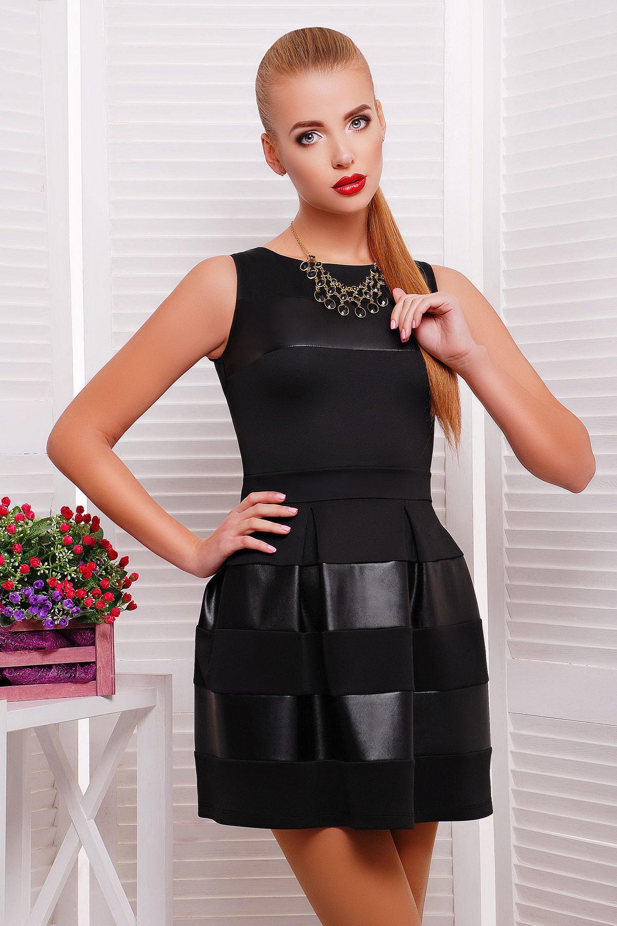 . платье Шакира б/р. Цвет: черный-кожа