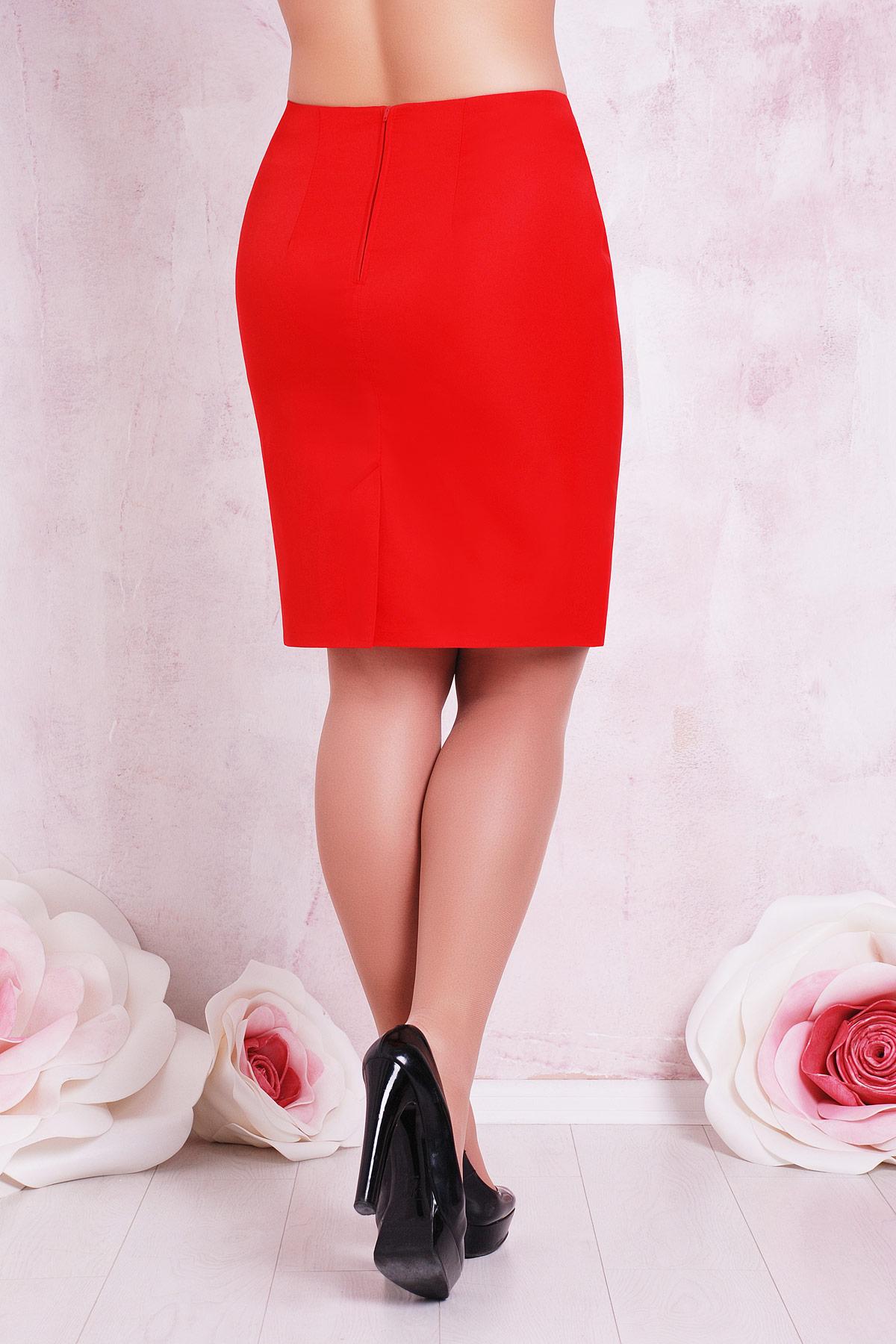 красная юбка большого размера. юбка мод. №1 Б. Цвет: красный