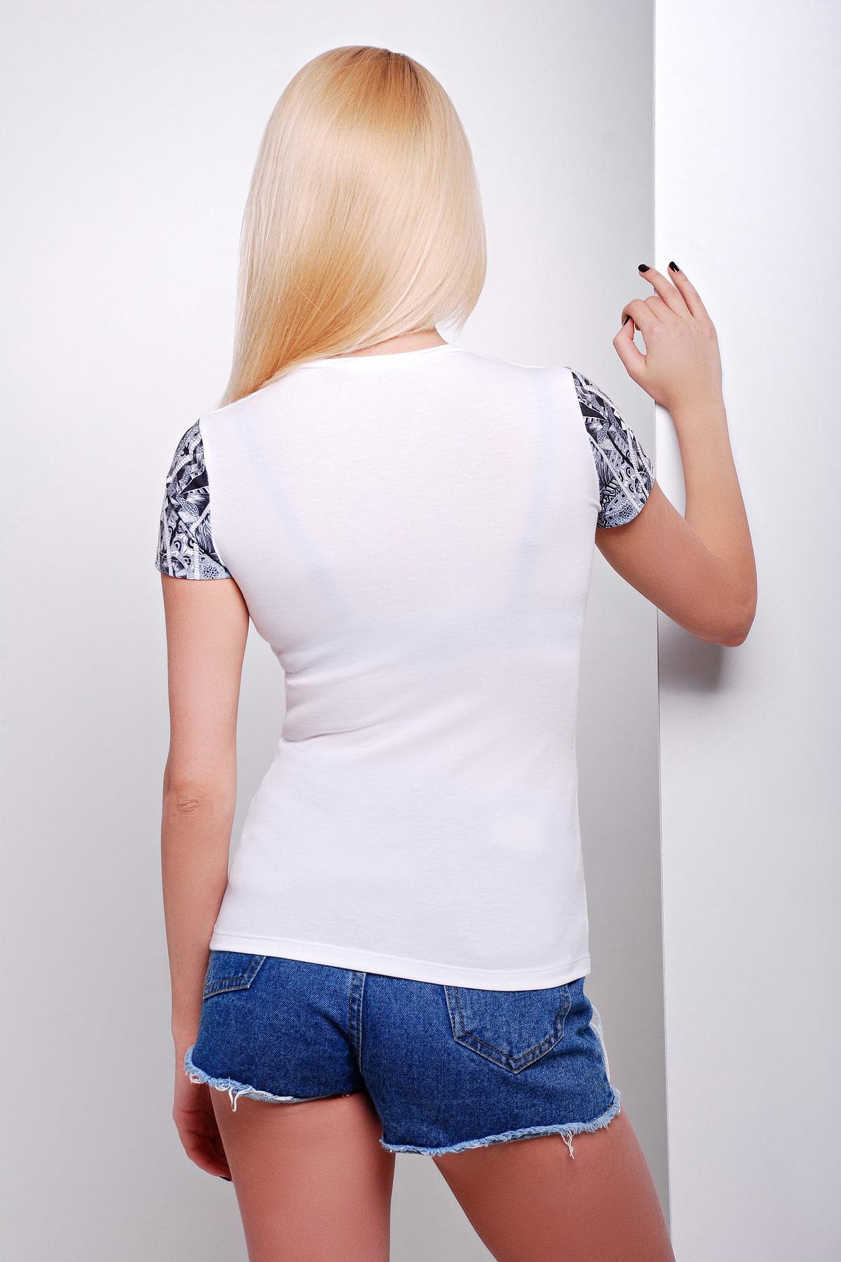 Белая футболка с принтом совы. Сова Футболка-3В. Цвет: принт