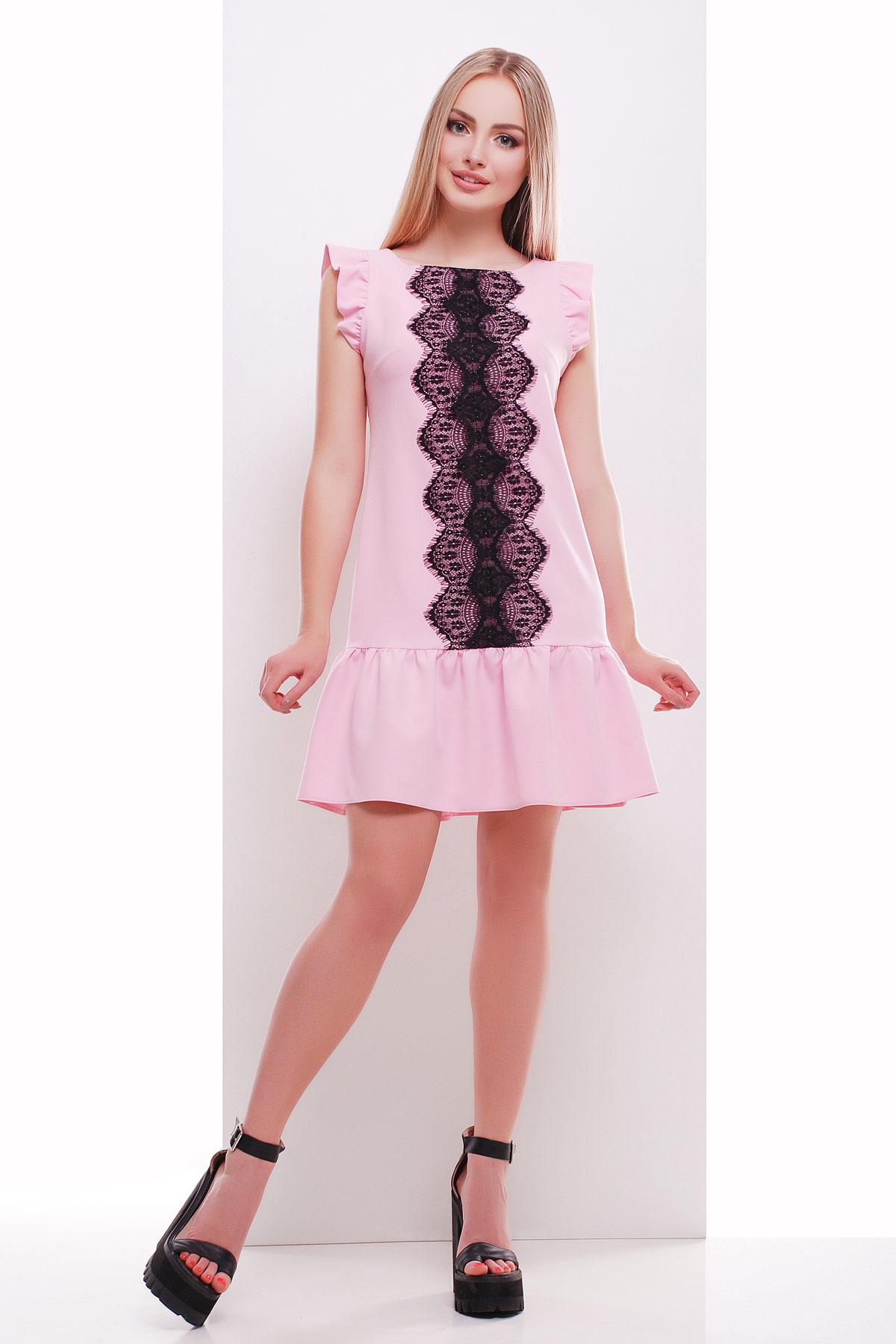 мятное платье с кружевом. платье Южана б/р. Цвет: розовый