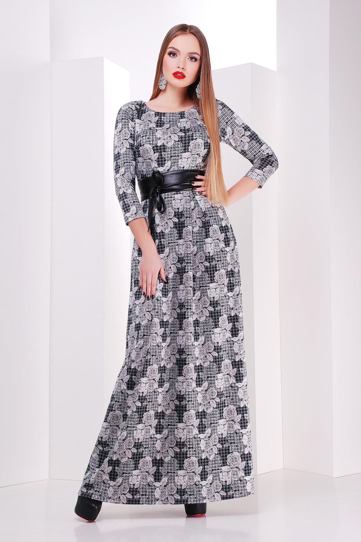 Серое платье макси, украшенное лапкой и розами. платье Шарли д/р. Цвет: черный-лапка-роза