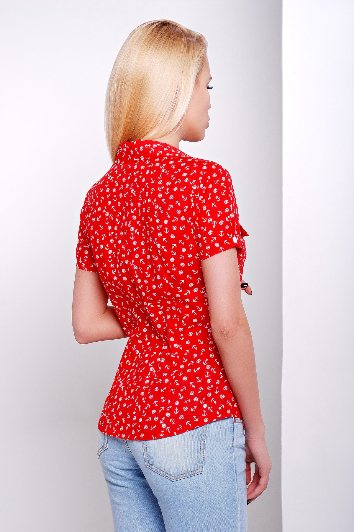 белая блуза из шифона с морским принтом и коротким рукавом. блуза Якира к/р. Цвет: красный-якорь