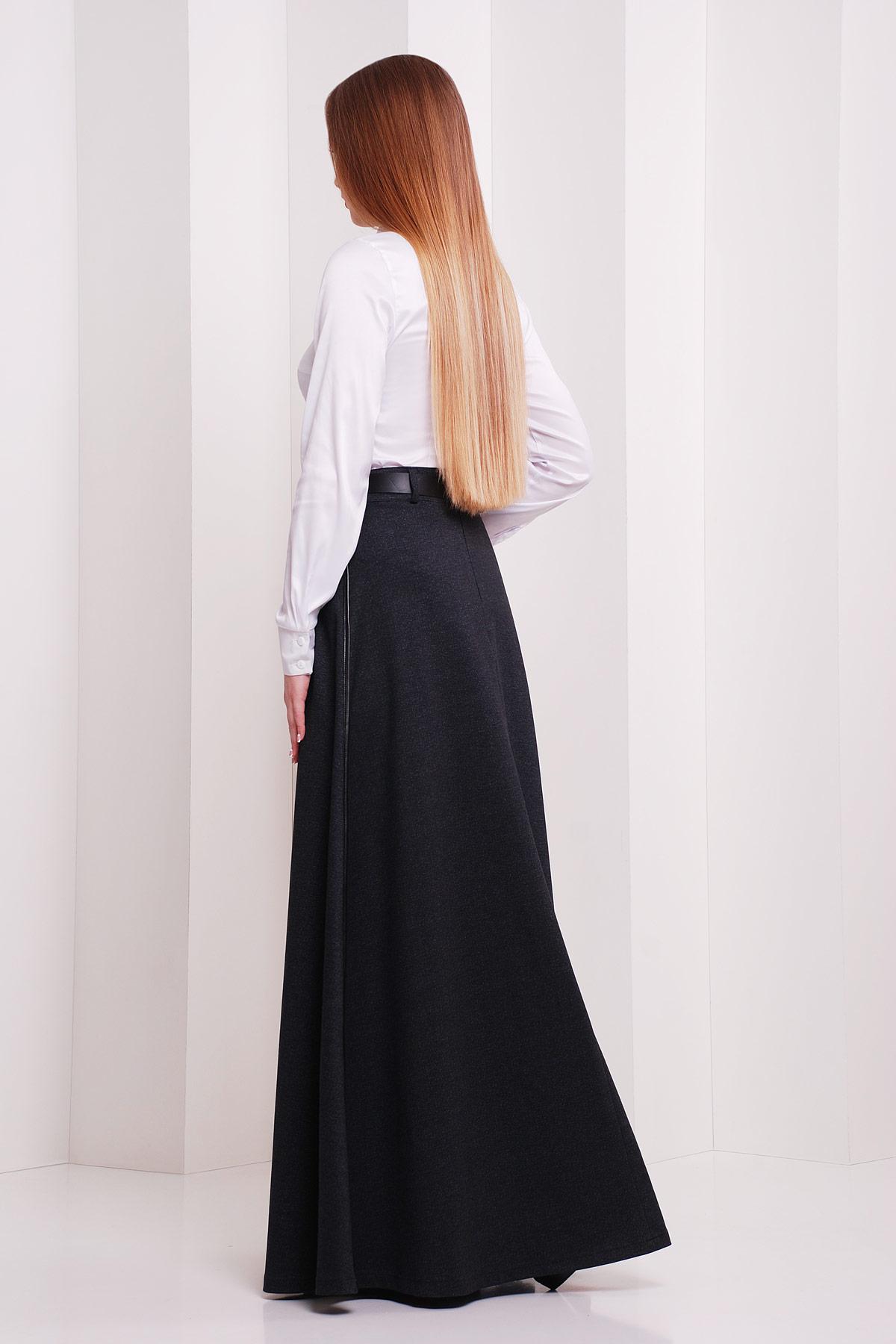 женская юбка-трапеция в пол. юбка мод. №24. Цвет: черный меланж