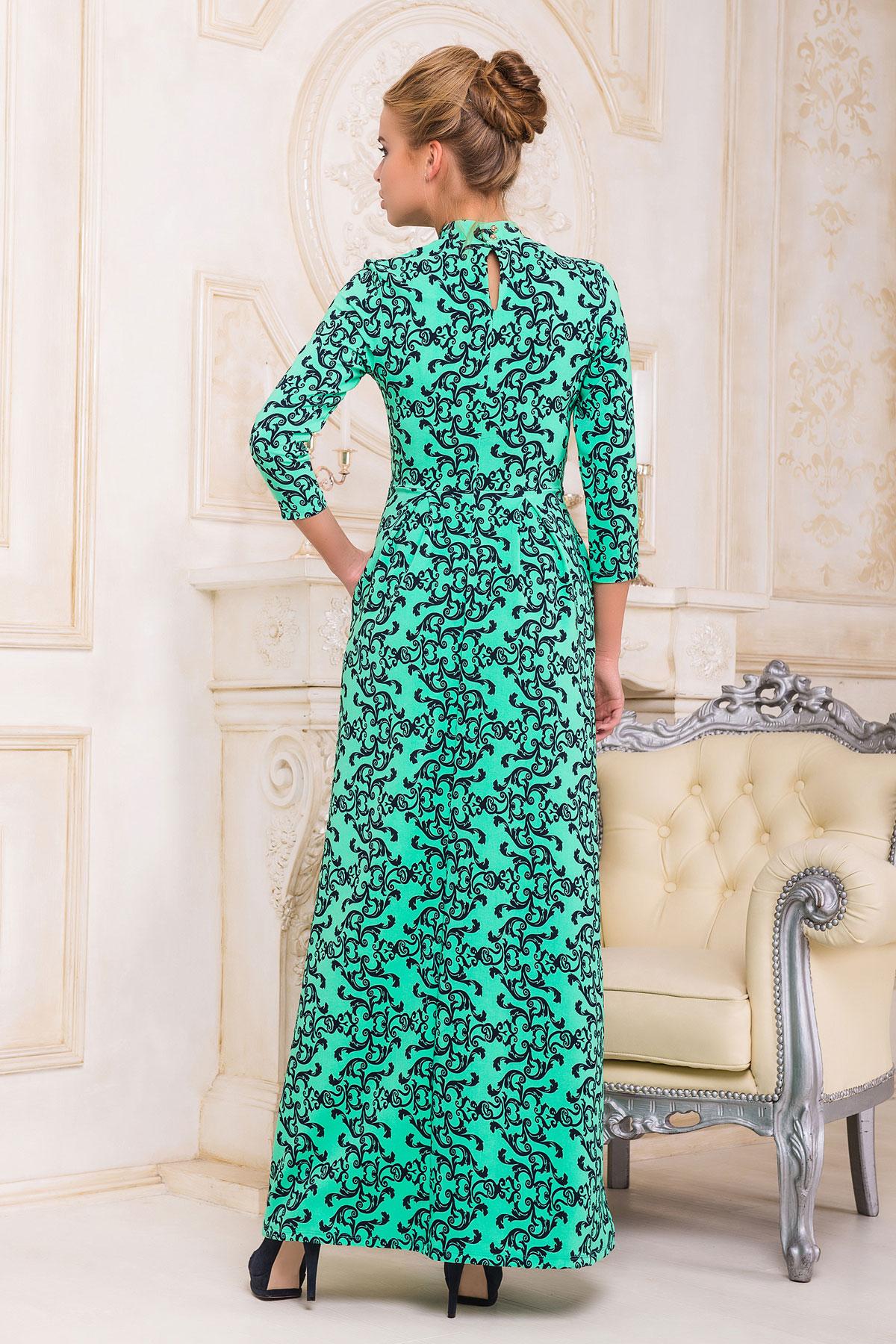 . платье Шарлота д/р. Цвет: мята-черный узор