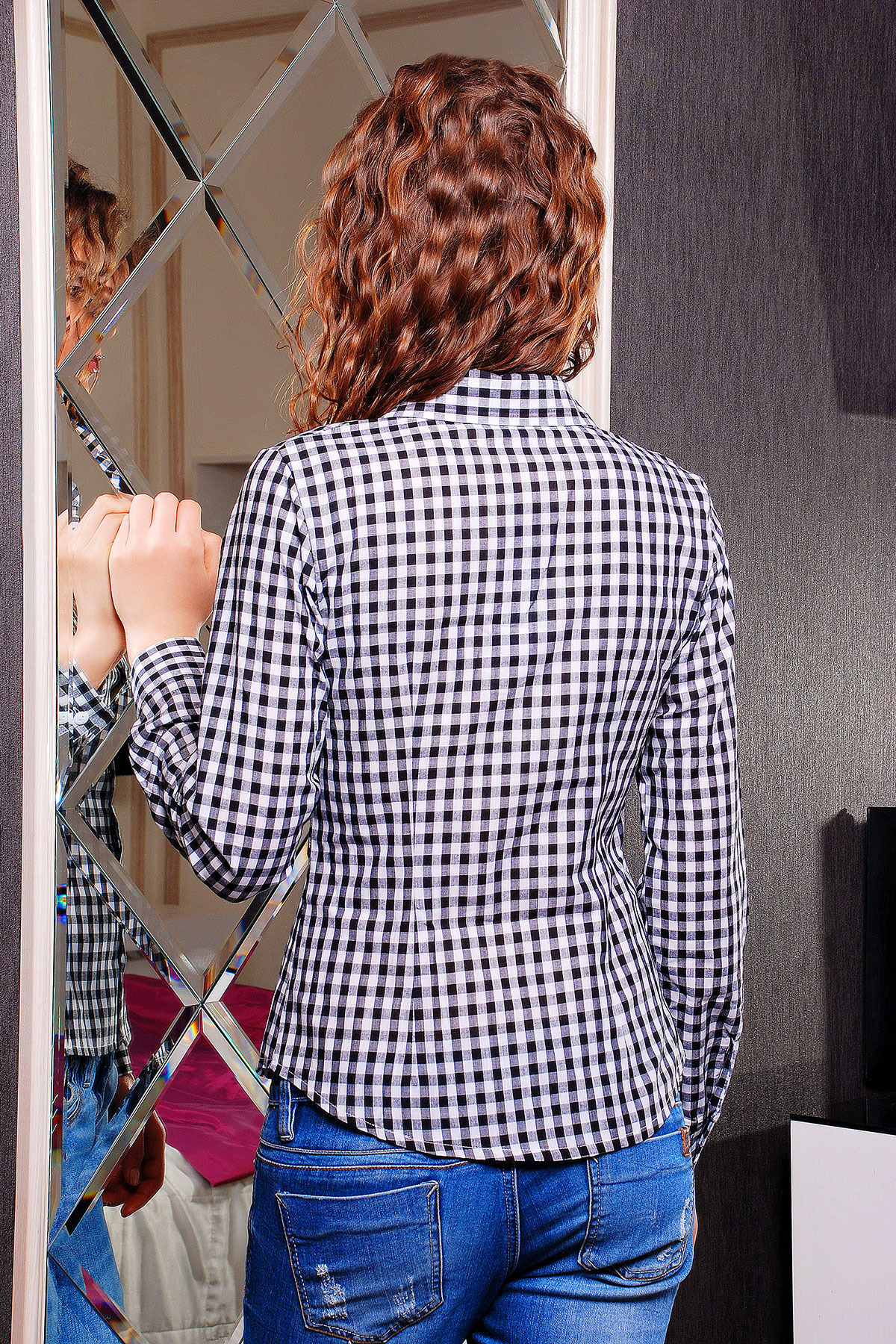 женская трикотажная красная блуза в белую клетку. блуза Шериф д/р. Цвет: черный-клетка