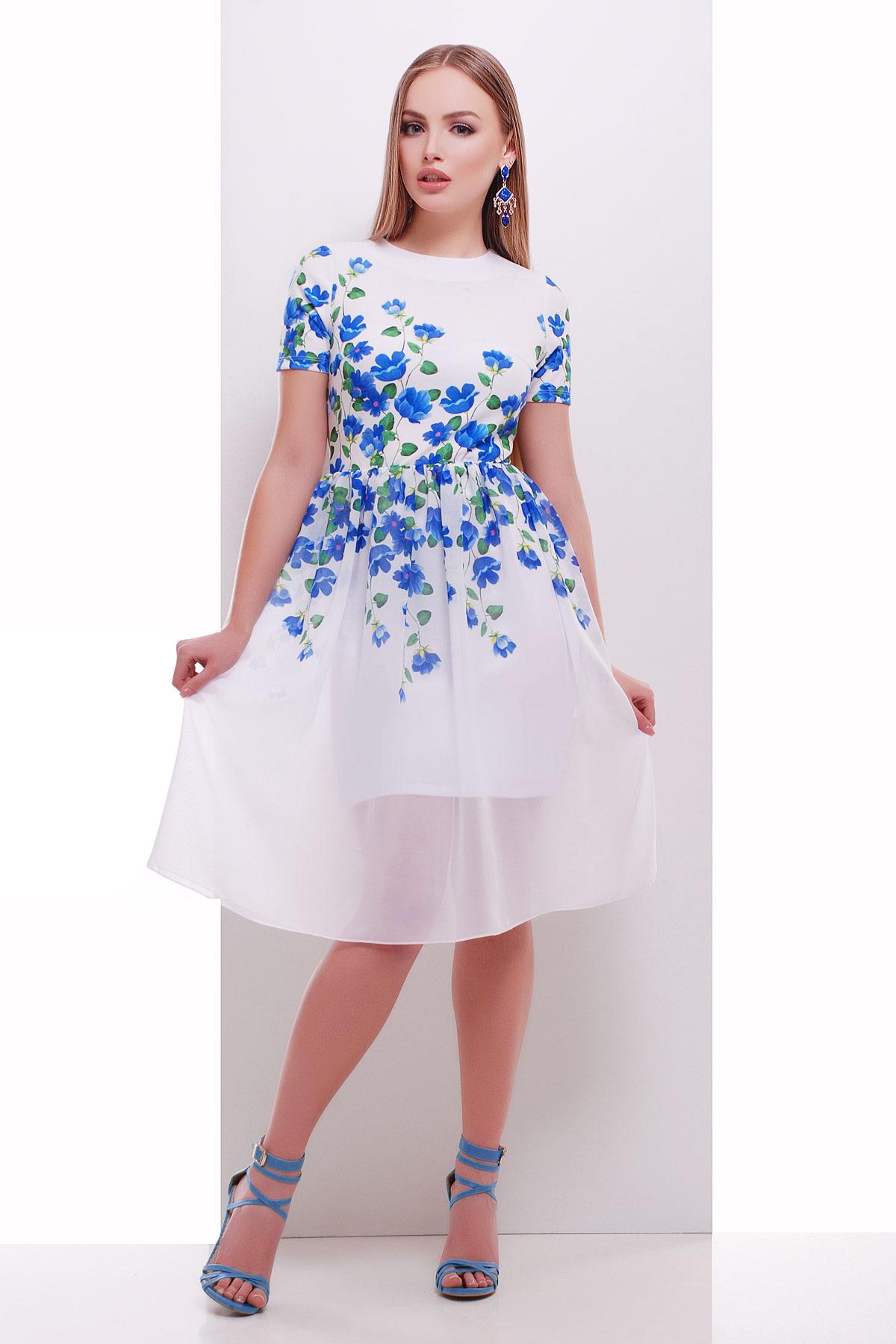 Синие цветы платье Мияна-КД к/р