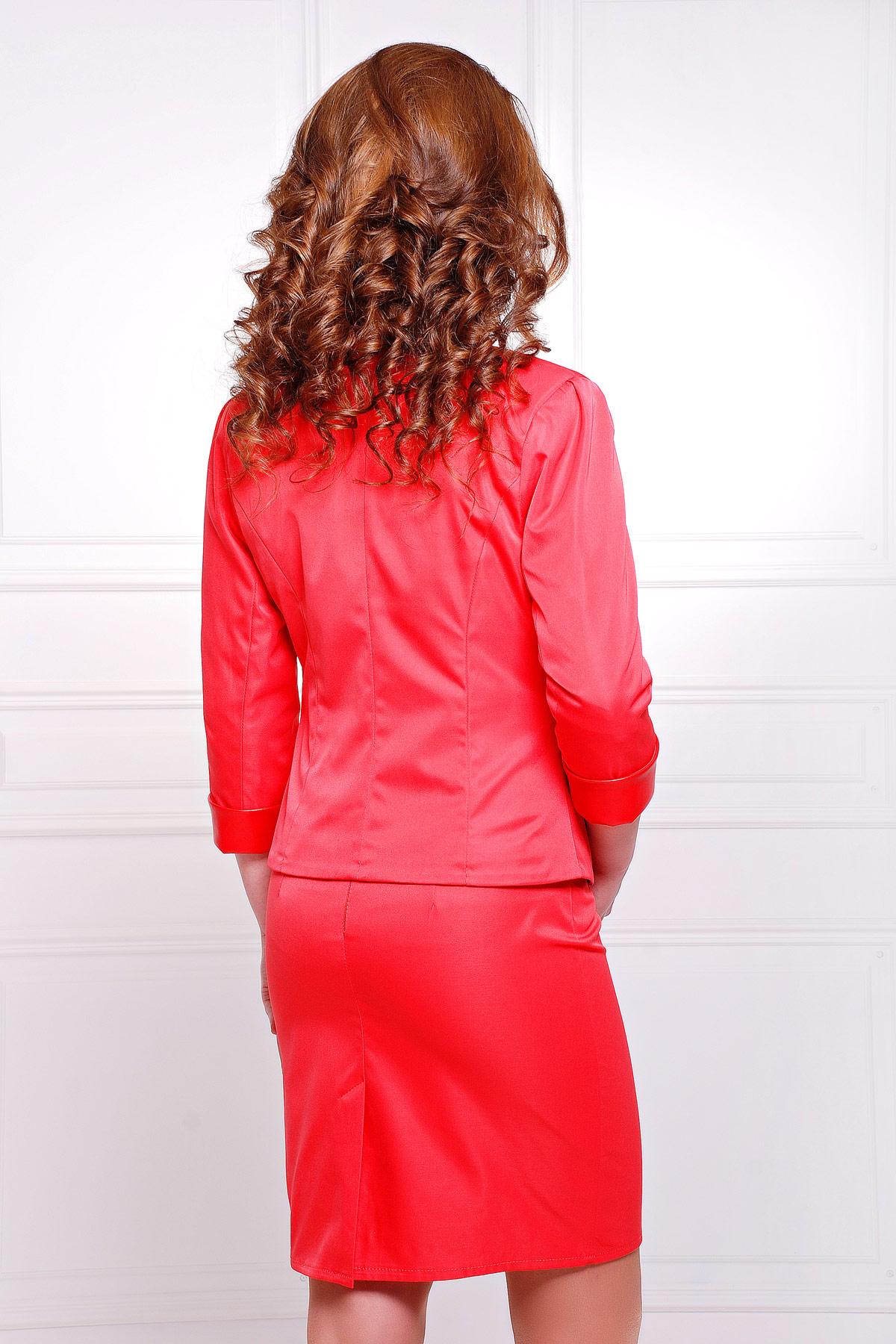 короткий красный пиджак. пиджак Рандеву. Цвет: красный-красная отделка