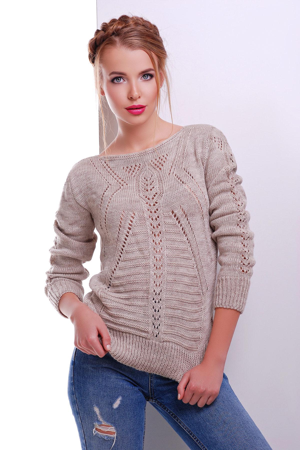 Ажурный женский свитер вязаный