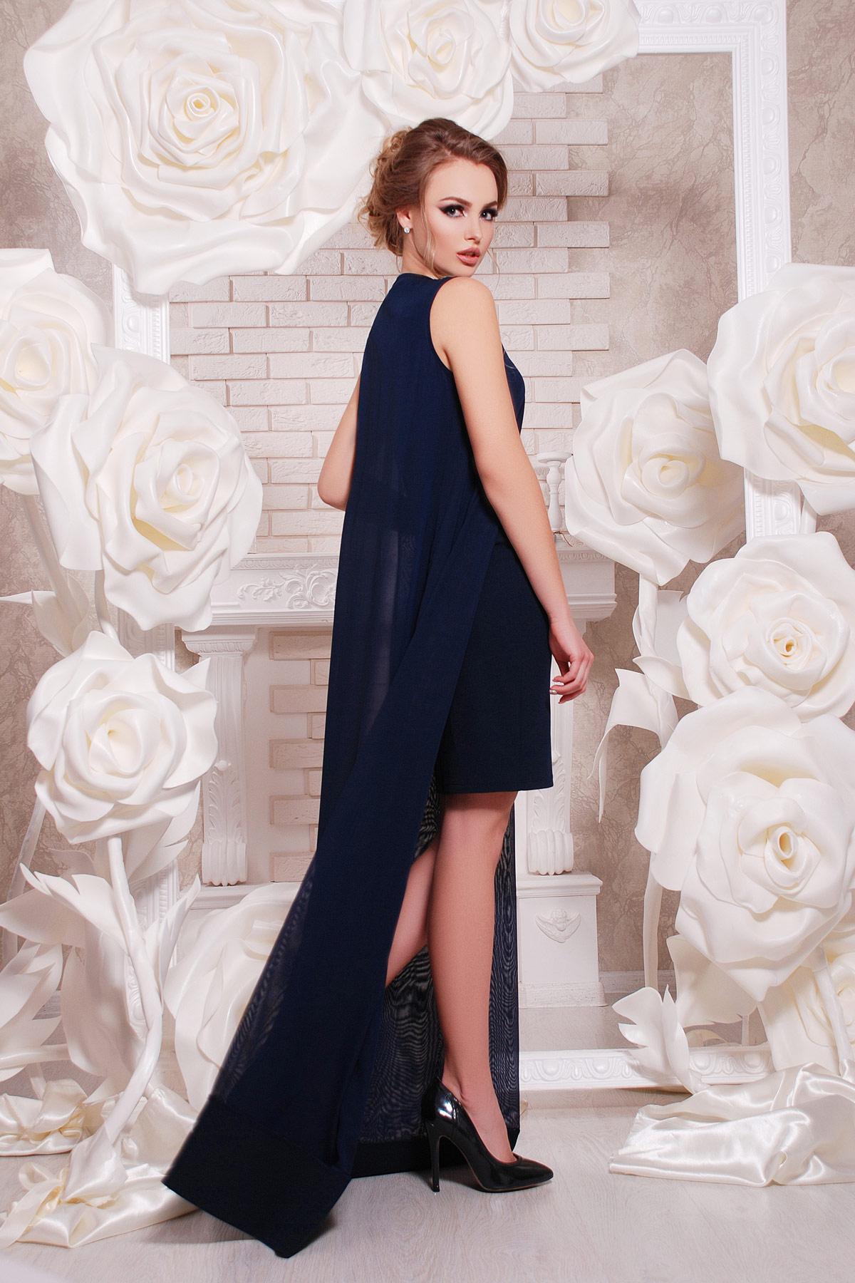темно-синее платье-двойка на выпускной. платье Ясмина б/р. Цвет: темно синий