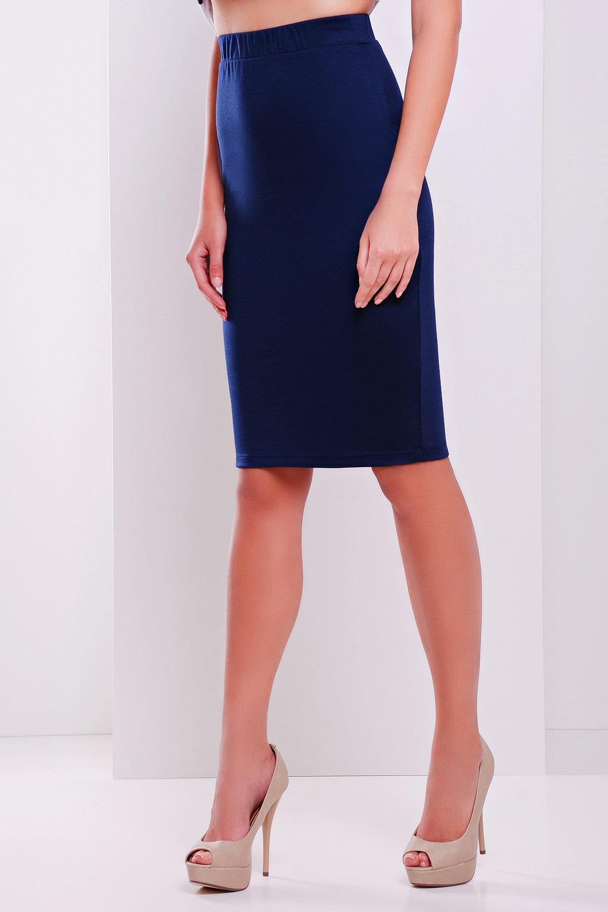 черная юбка-карандаш до колена. юбка мод. №20. Цвет: темно синий