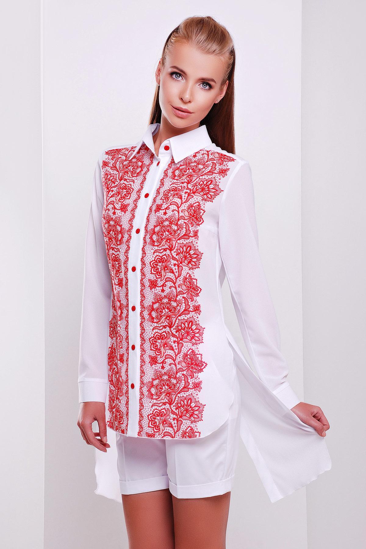 Узор красный блуза Джована д/р. Цвет: принт