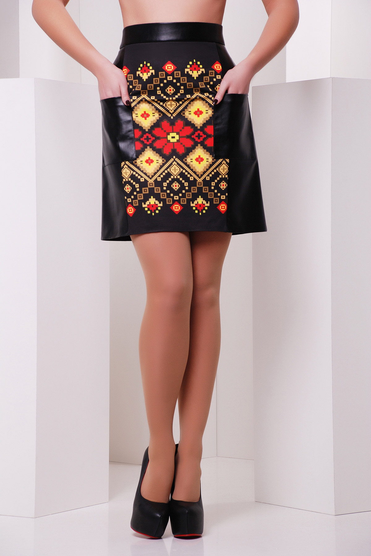 Красно-желтый орнамент юбка мод. №23 (кожа)