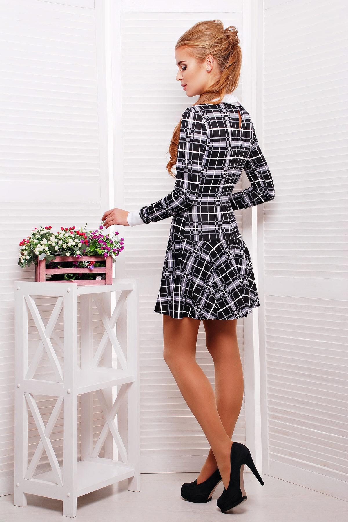 . платье Элис д/р. Цвет: черн.-бел.клетка-бел.отд.
