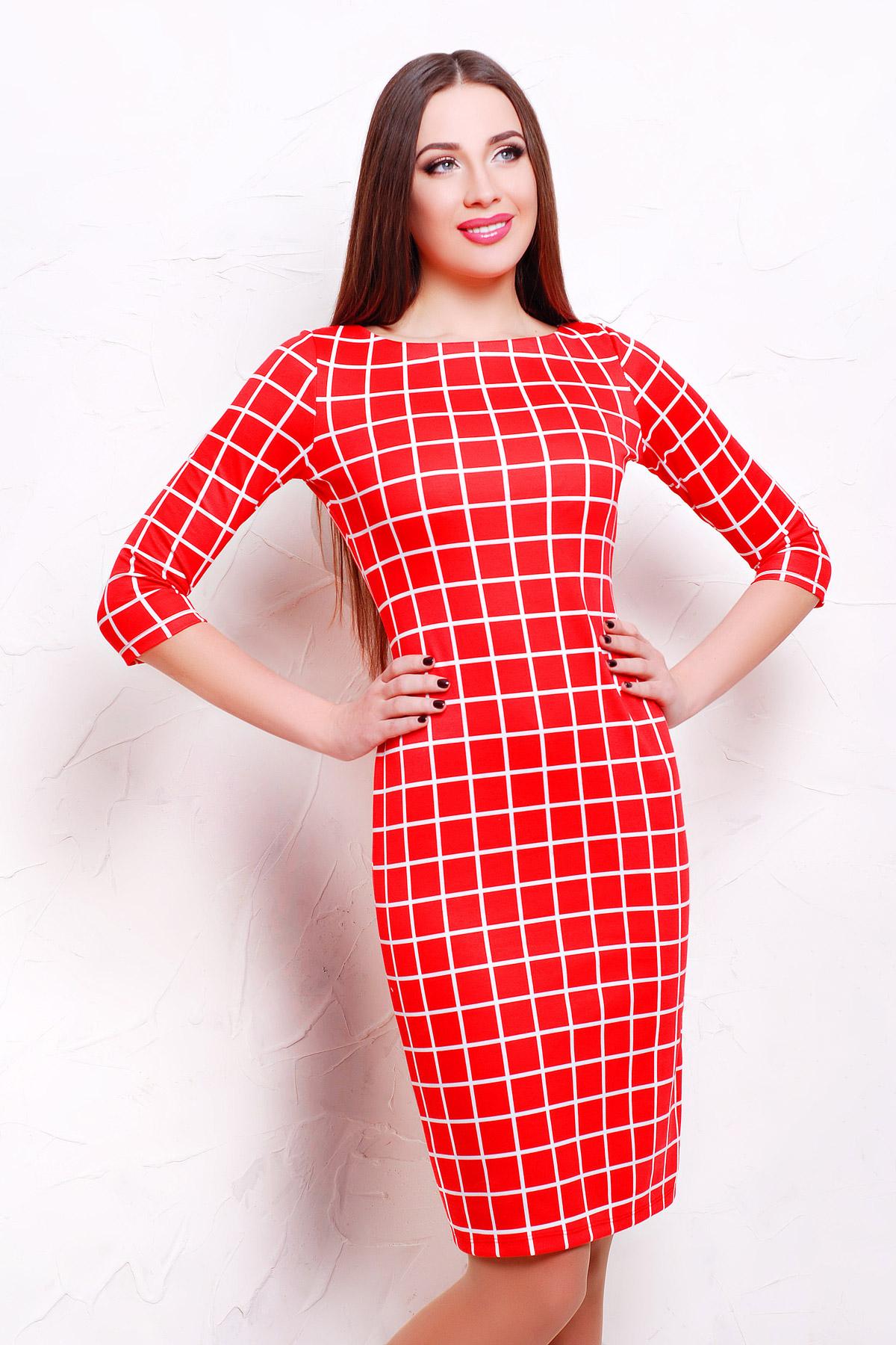 Клетка красная платье Лоя-1Ф д/р