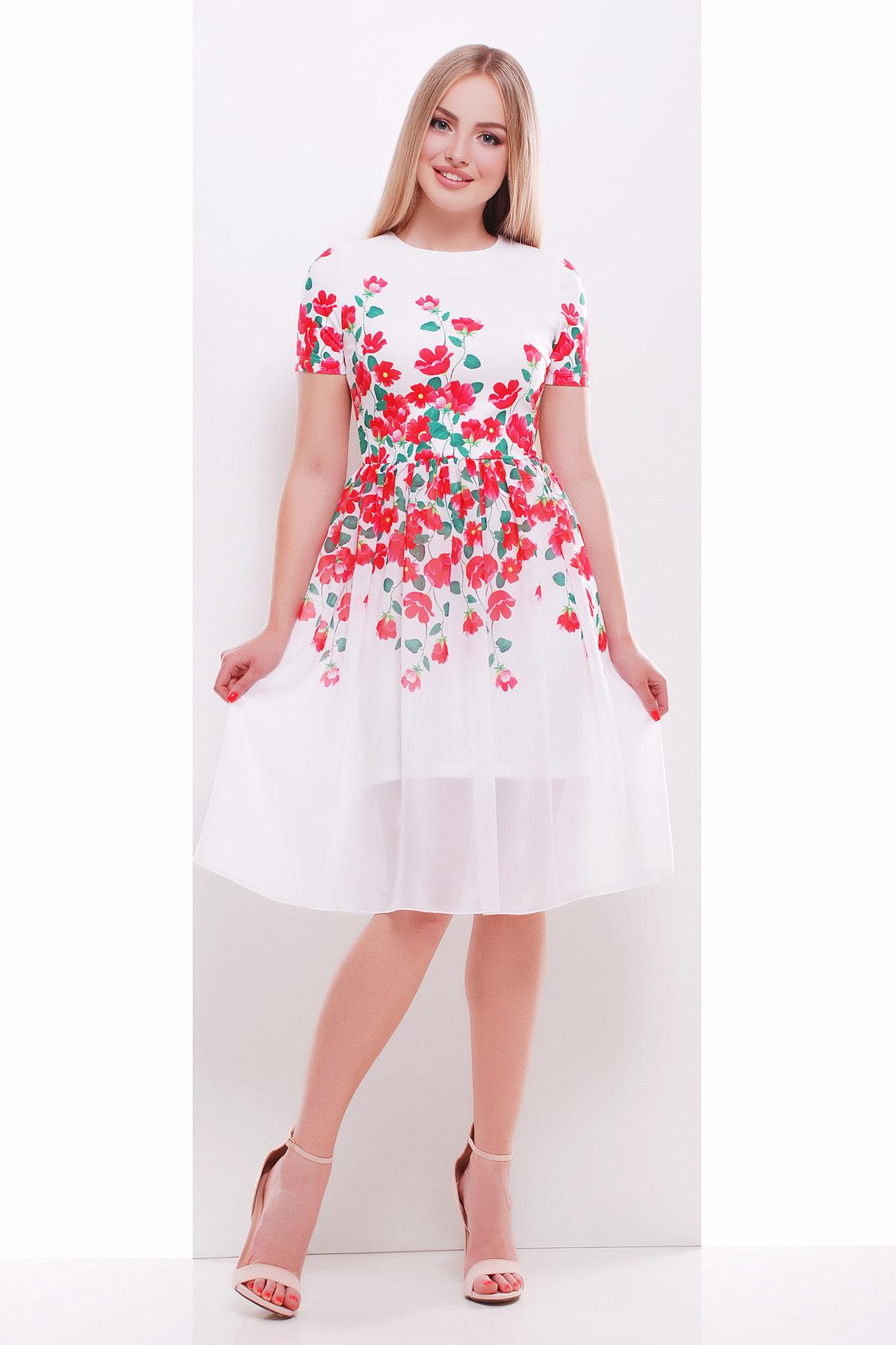 Красные цветы платье Мияна-КД к/р