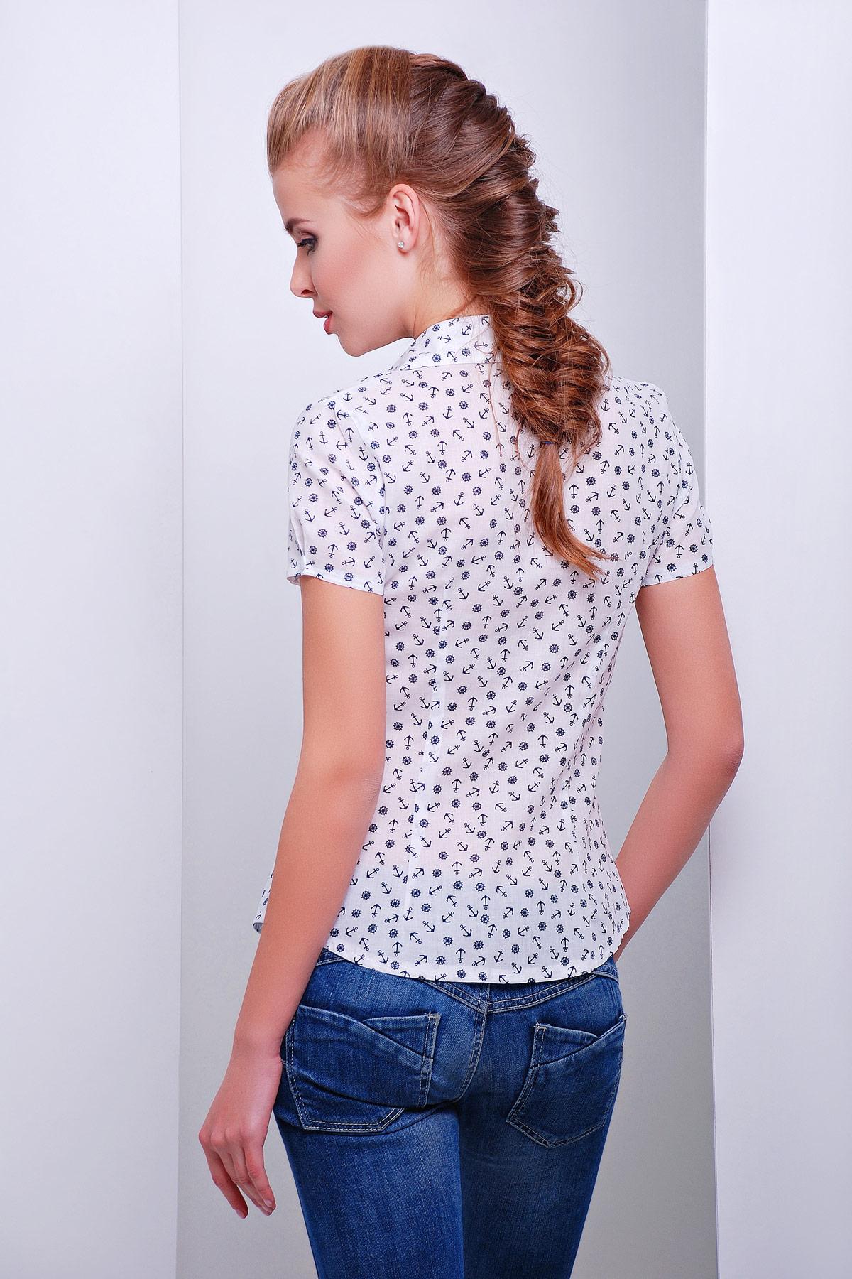 белая блуза из шифона с морским принтом и коротким рукавом. блуза Якира к/р. Цвет: белый-якорь