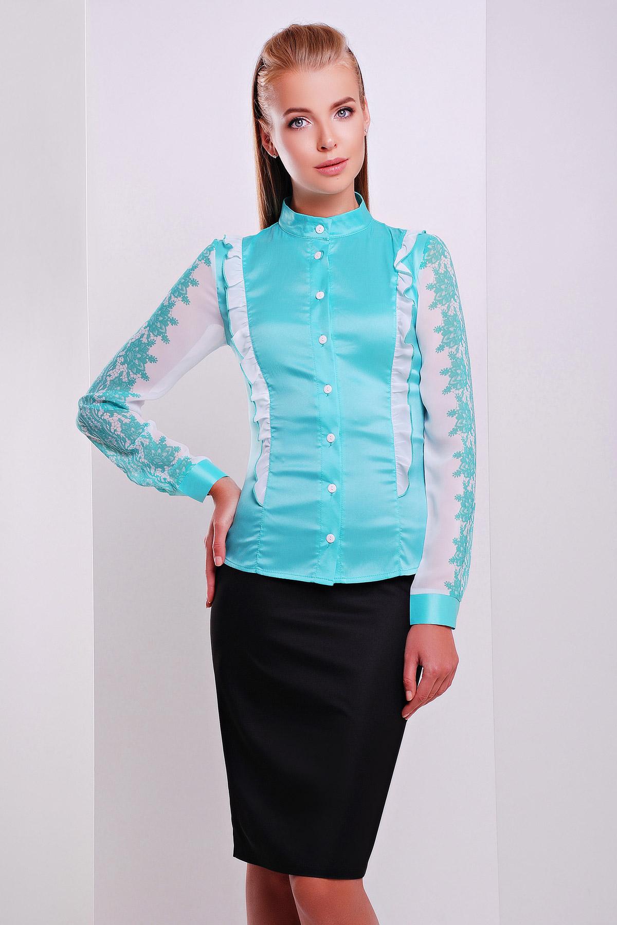 Узор мята блуза Ажура д/р. Цвет: мята