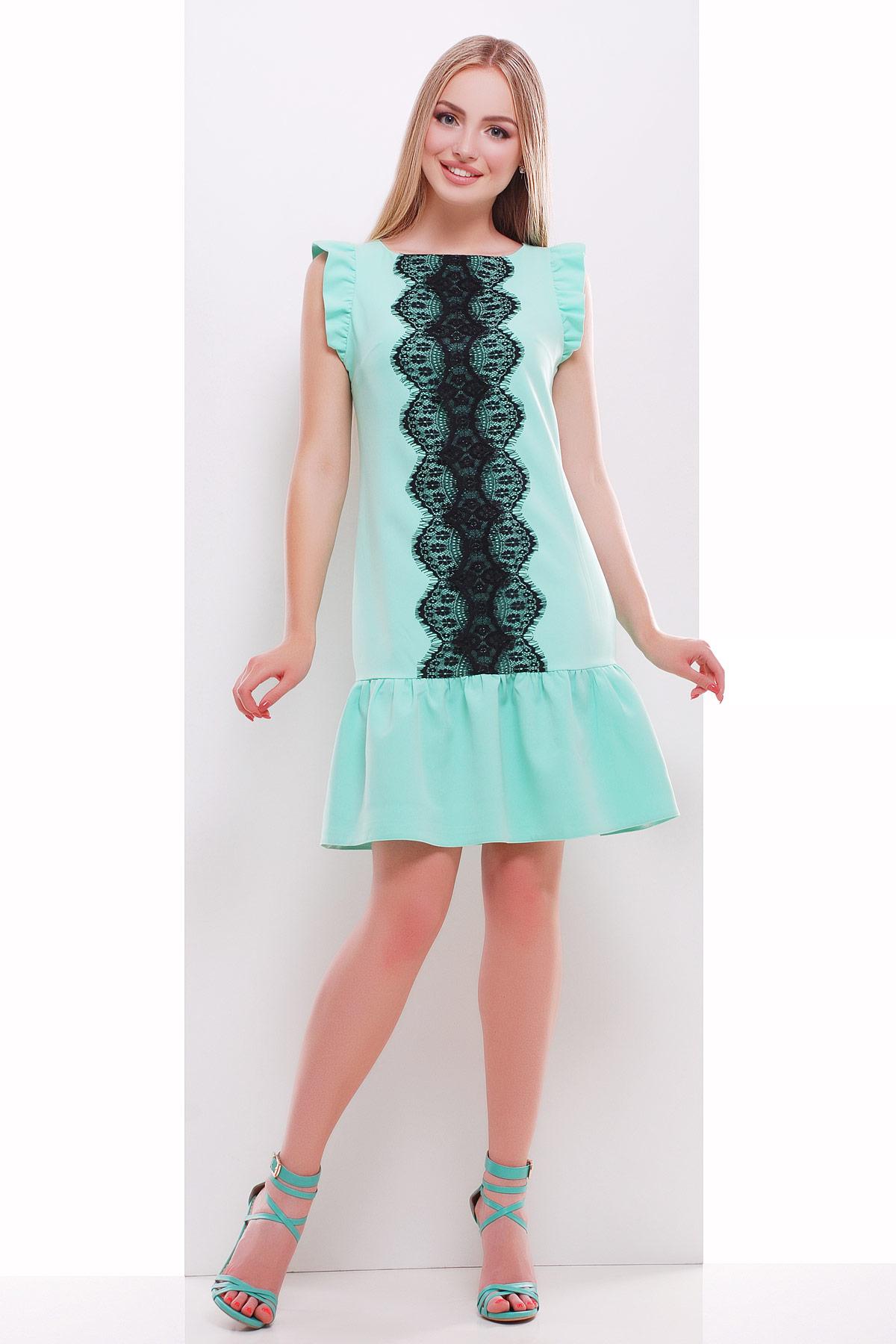 мятное платье с кружевом. платье Южана б/р. Цвет: мята