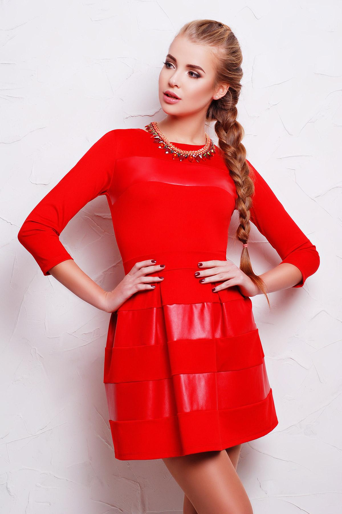 . платье Шакира д/р. Цвет: красный-кожа